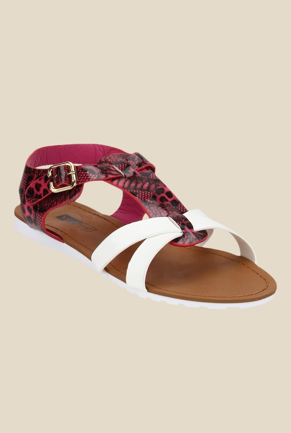 Yepme Red & White Ankle Strap Sandals