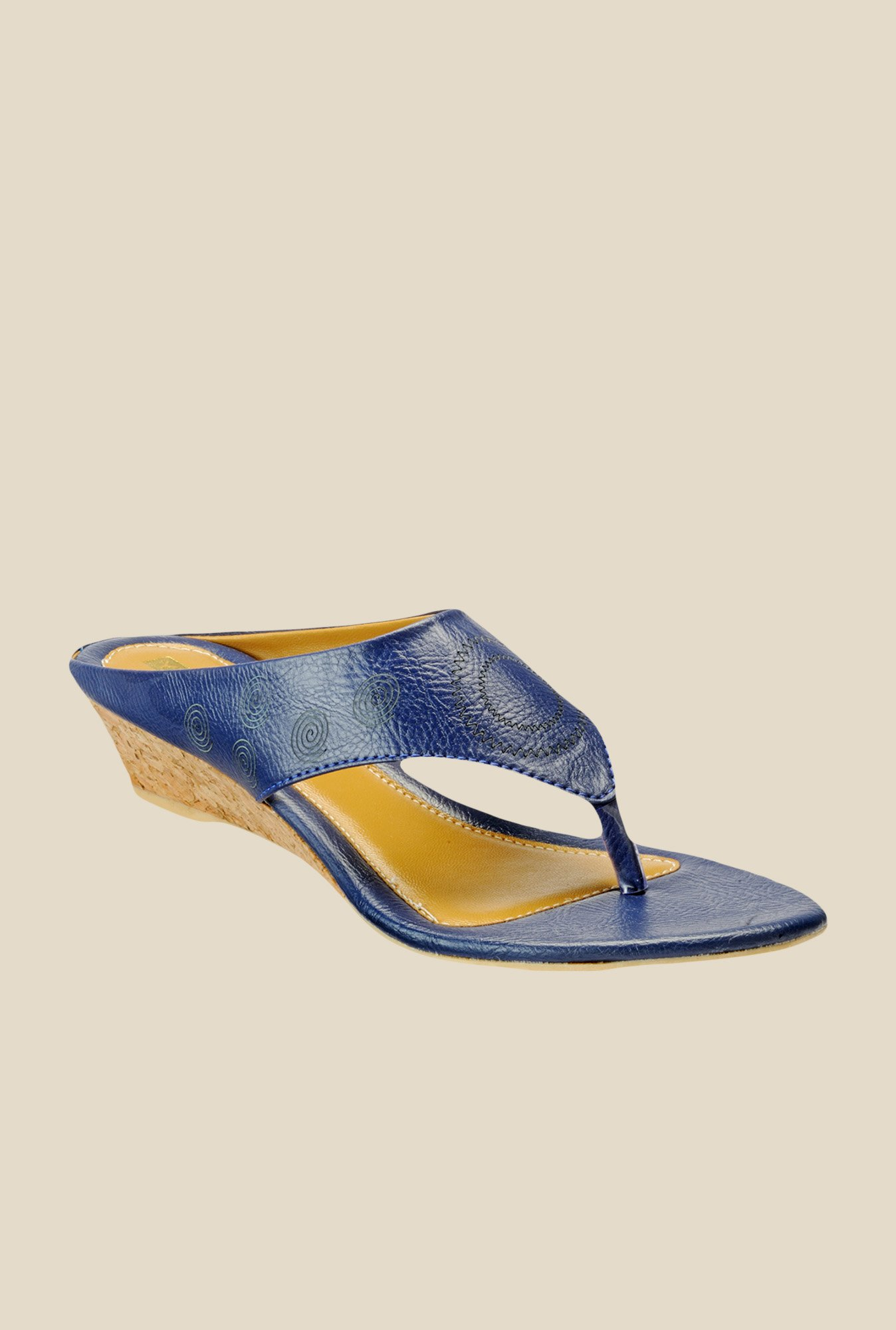 Yepme Navy Wedge Heeled Thong Sandals