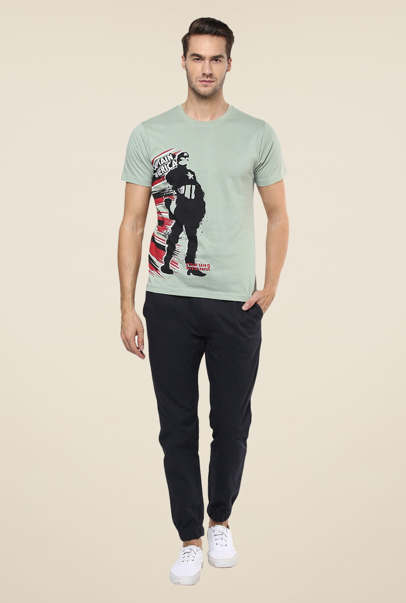 Yepme Civil War Captain America Silhouette Grey T Shirt