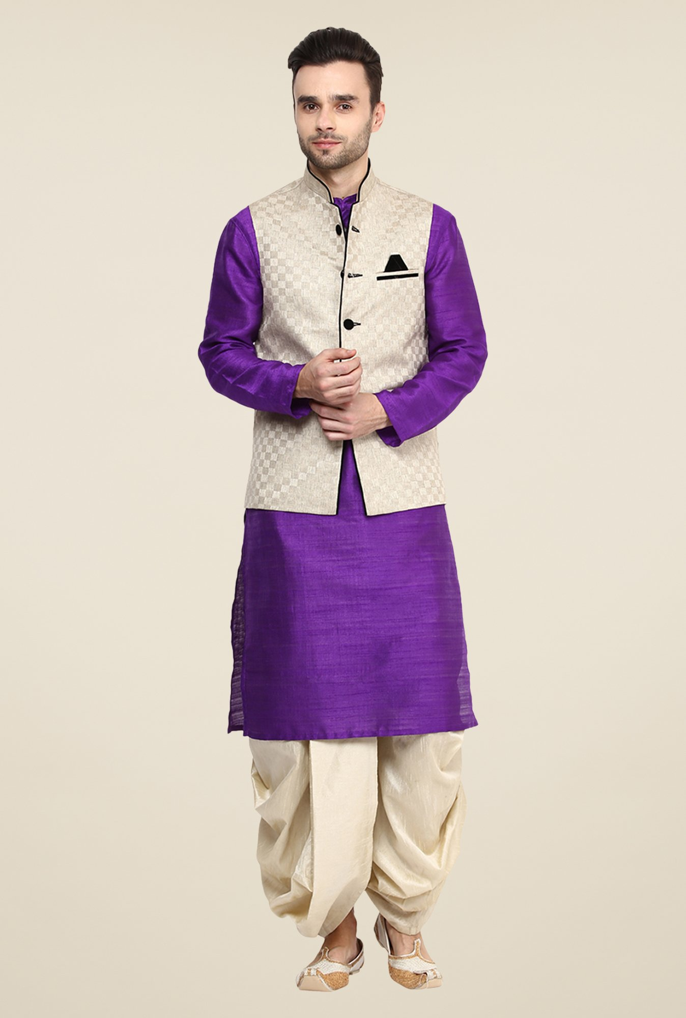 Yepme Beige Jason Self Print Nehru Jacket