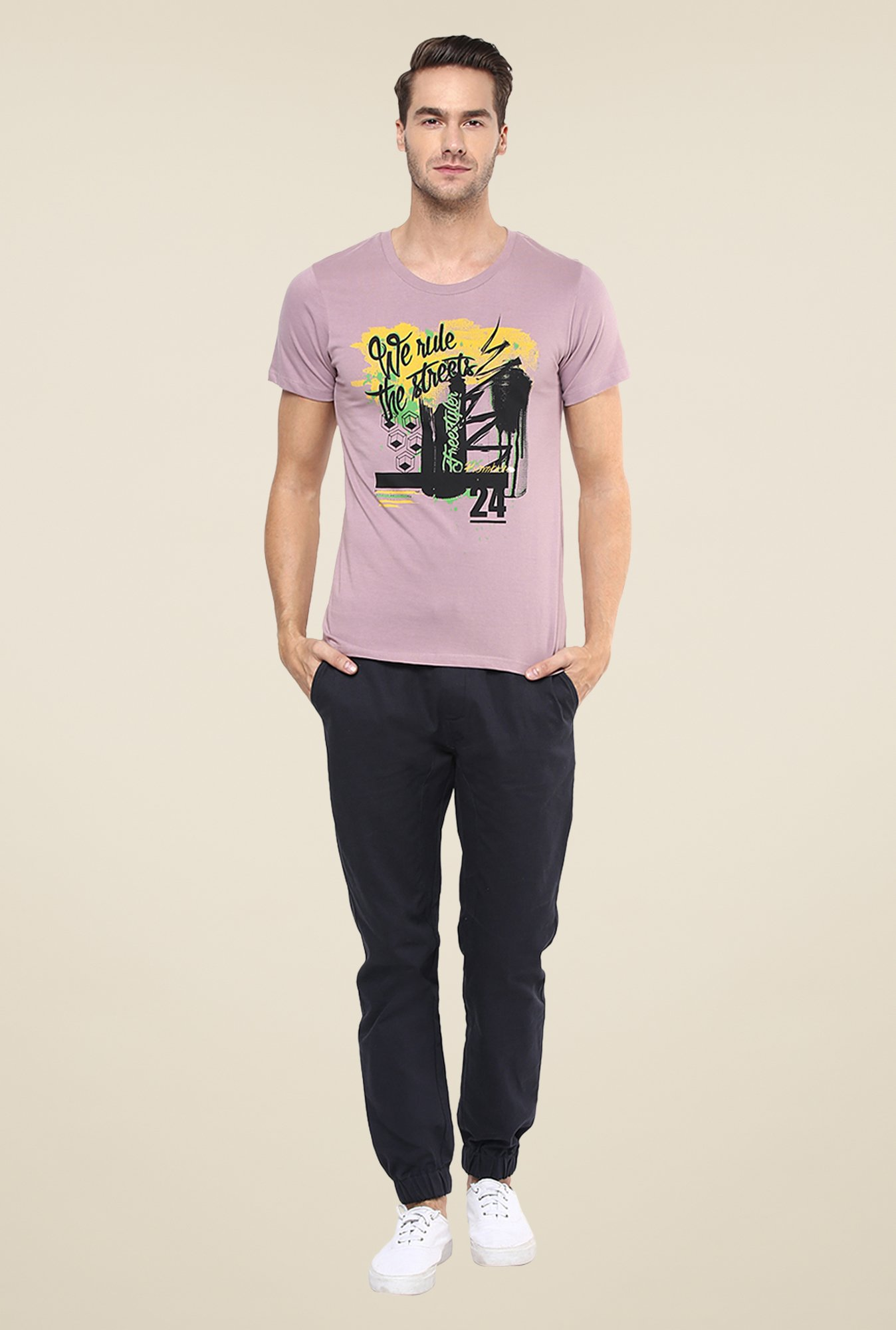 Yepme We Rule The Streets Purple Graphic Print T Shirt