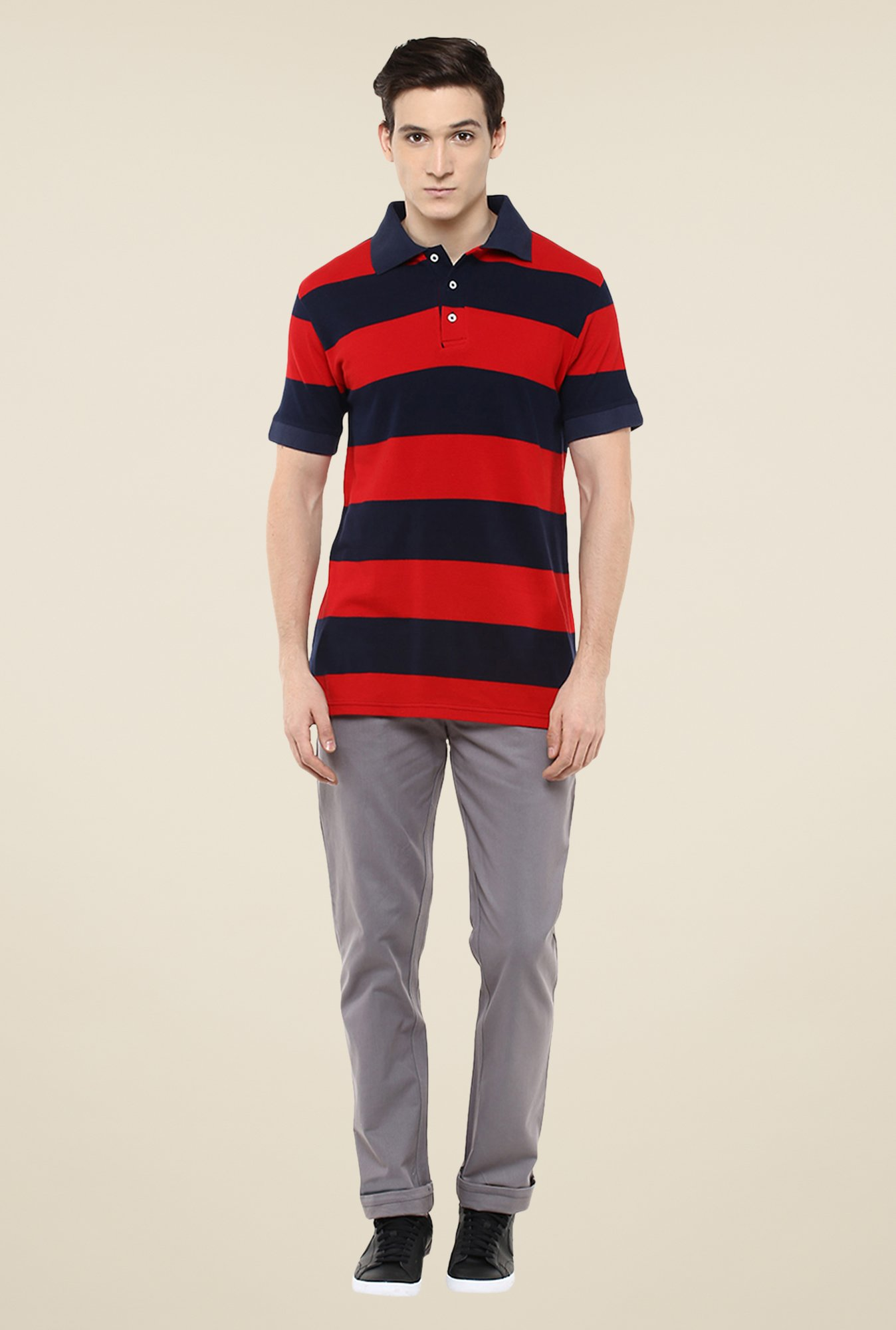 Yepme Red & Navy Brock Striped Polo T Shirt
