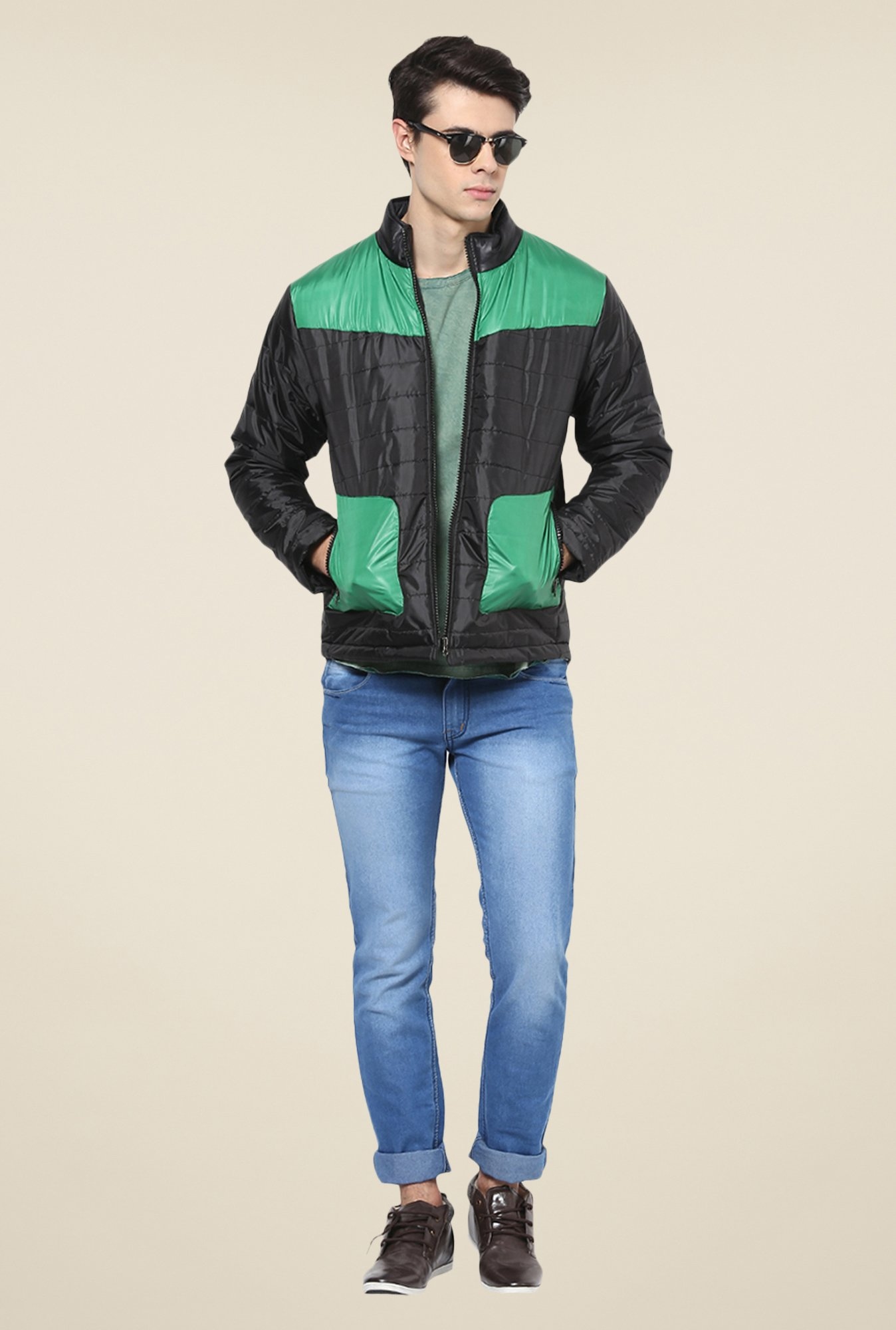 Yepme Black & Green Erik Quilted Jacket
