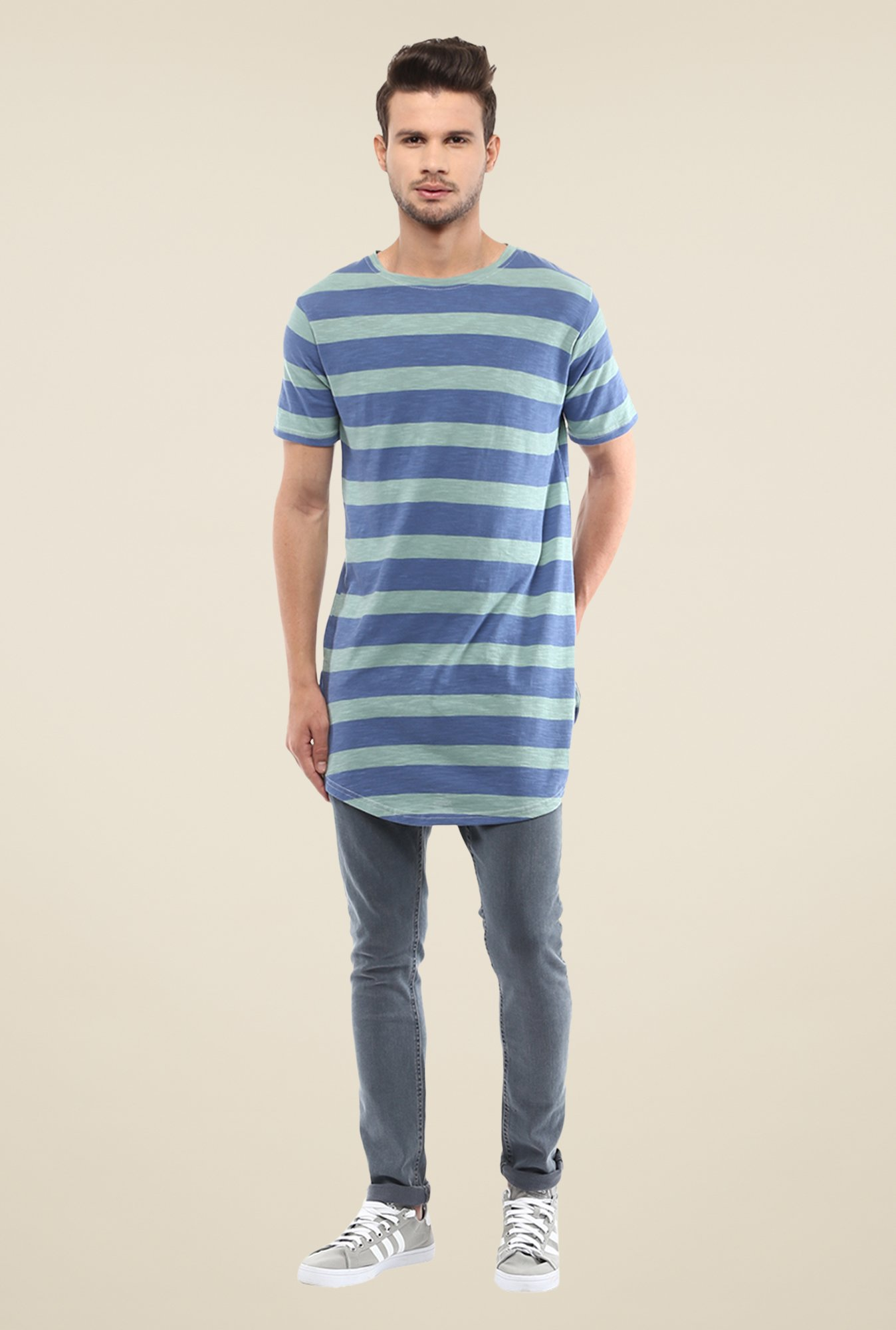 Yepme Blue & Grey Nick Longline Striped T Shirt