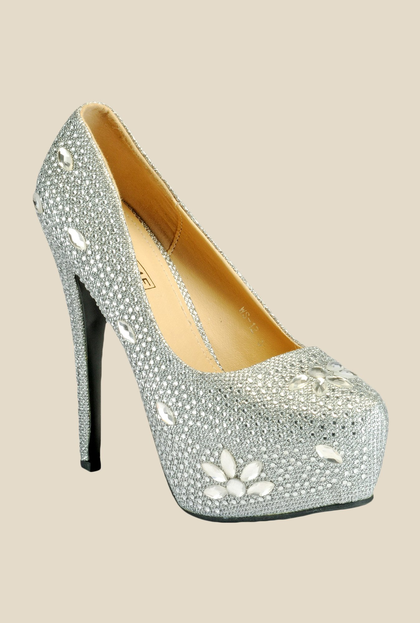 Yepme Silver Stiletto Heeled Pumps