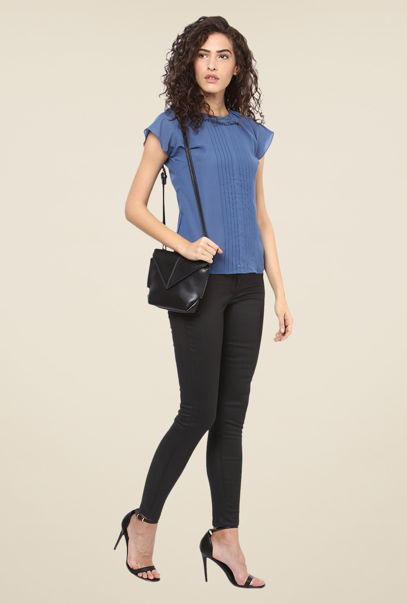 Yepme Blue Fringed Neck Top