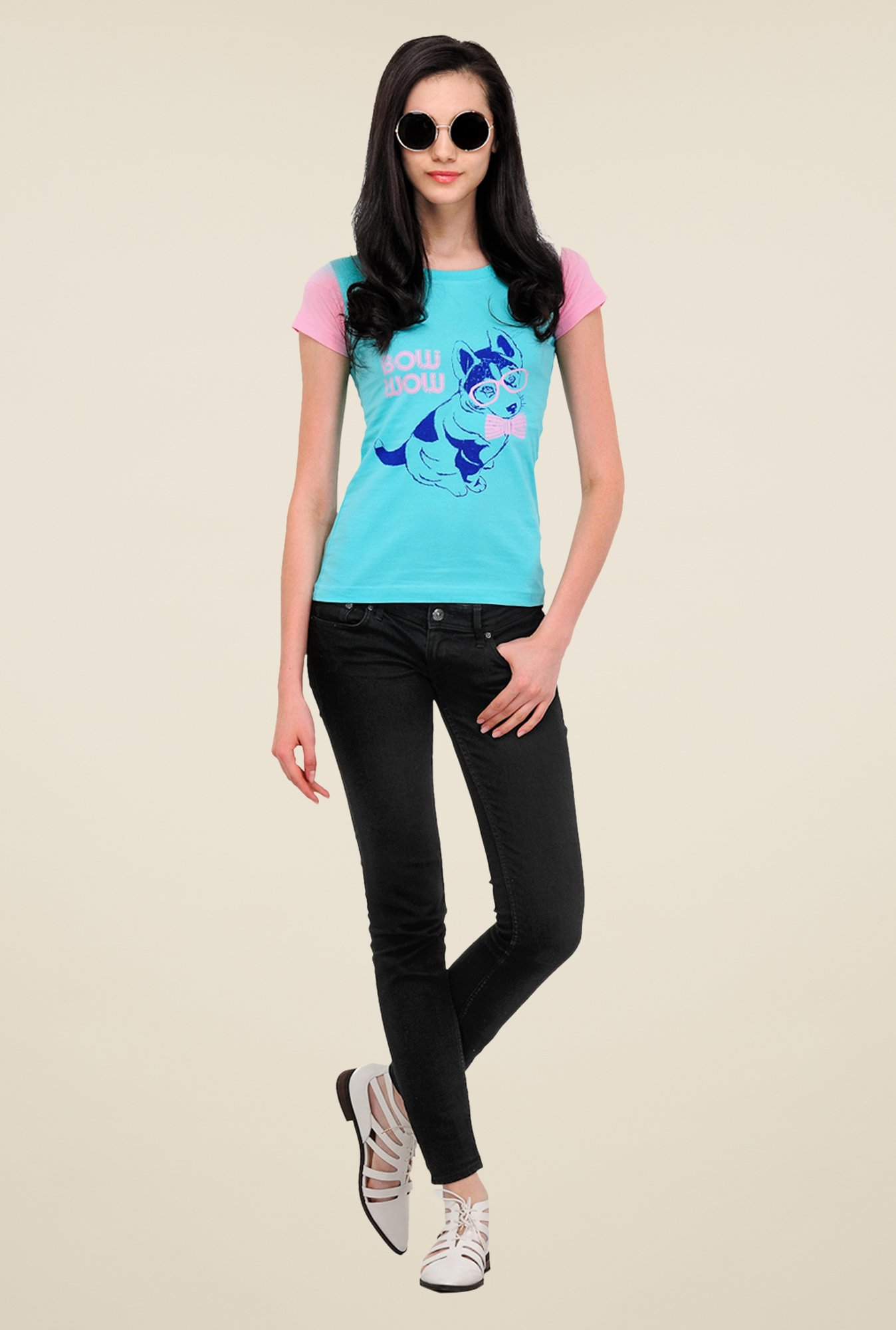 Yepme Puppy Bow Wow Blue T Shirt