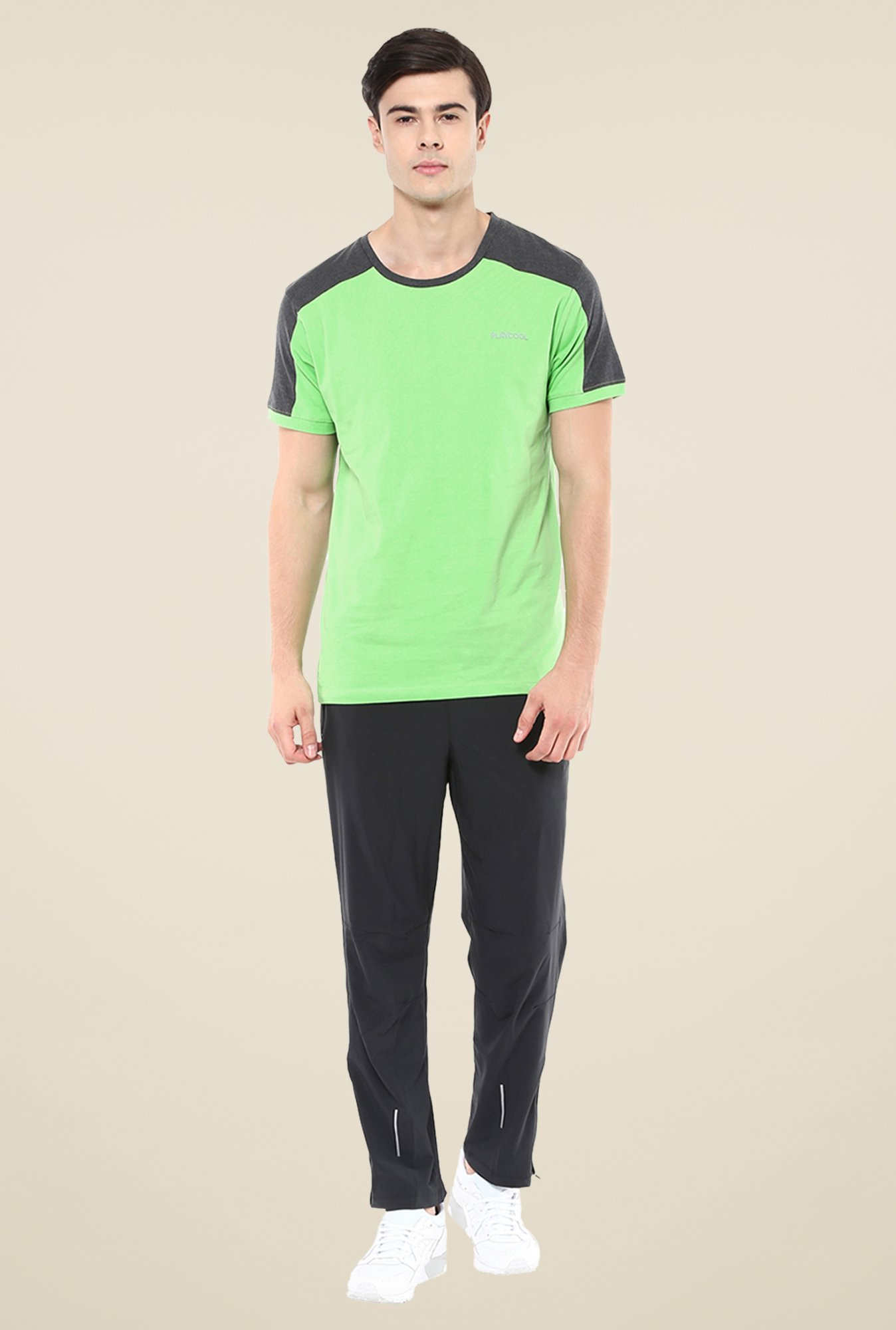 Yepme Green Tim High Performance Active Solid T-shirt