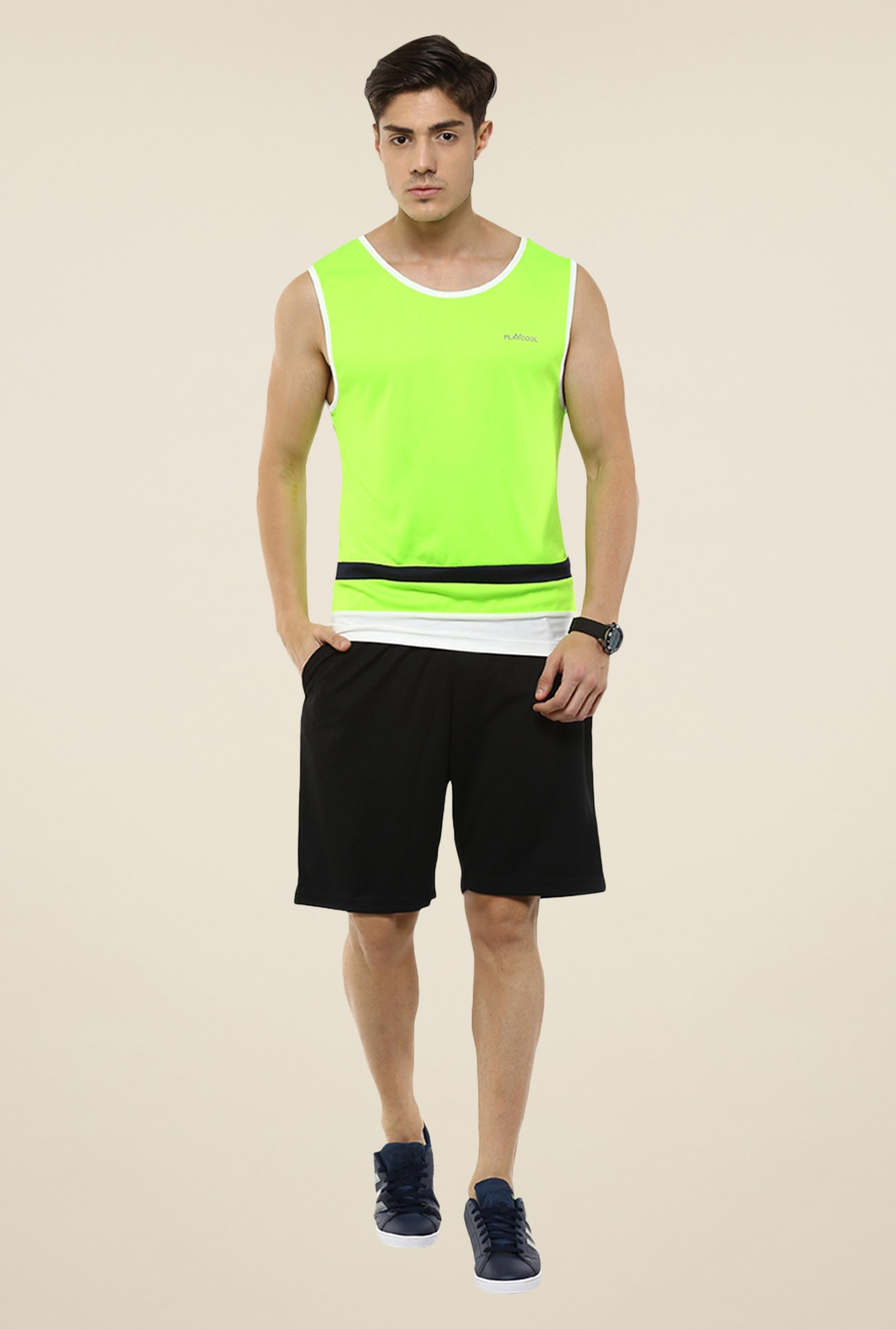 Yepme Neon Green Grant Muscle Solid T-shirt