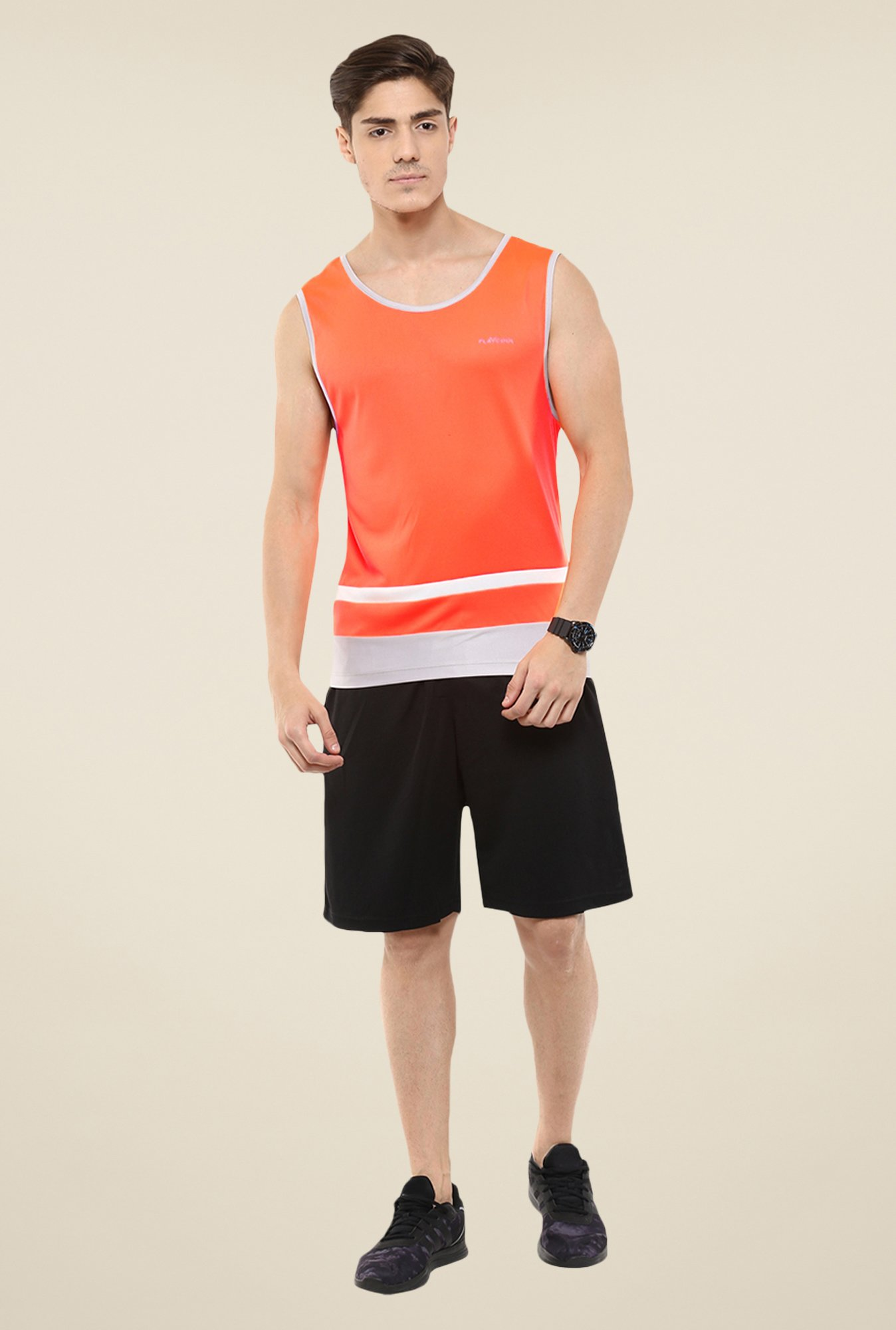 Yepme Orange Grant Muscle Solid T-shirt