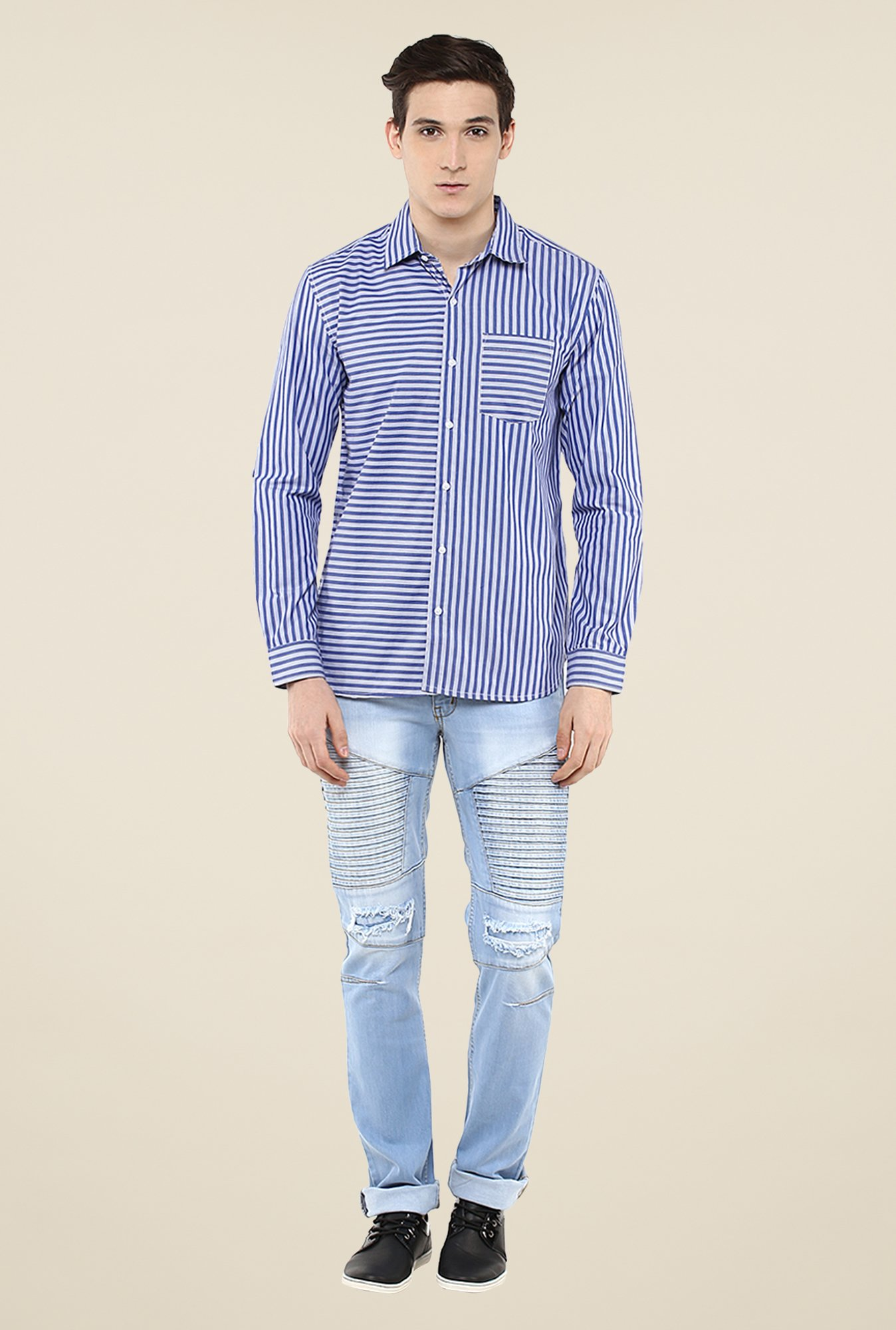 Yepme Blue Stefan Striped Shirt