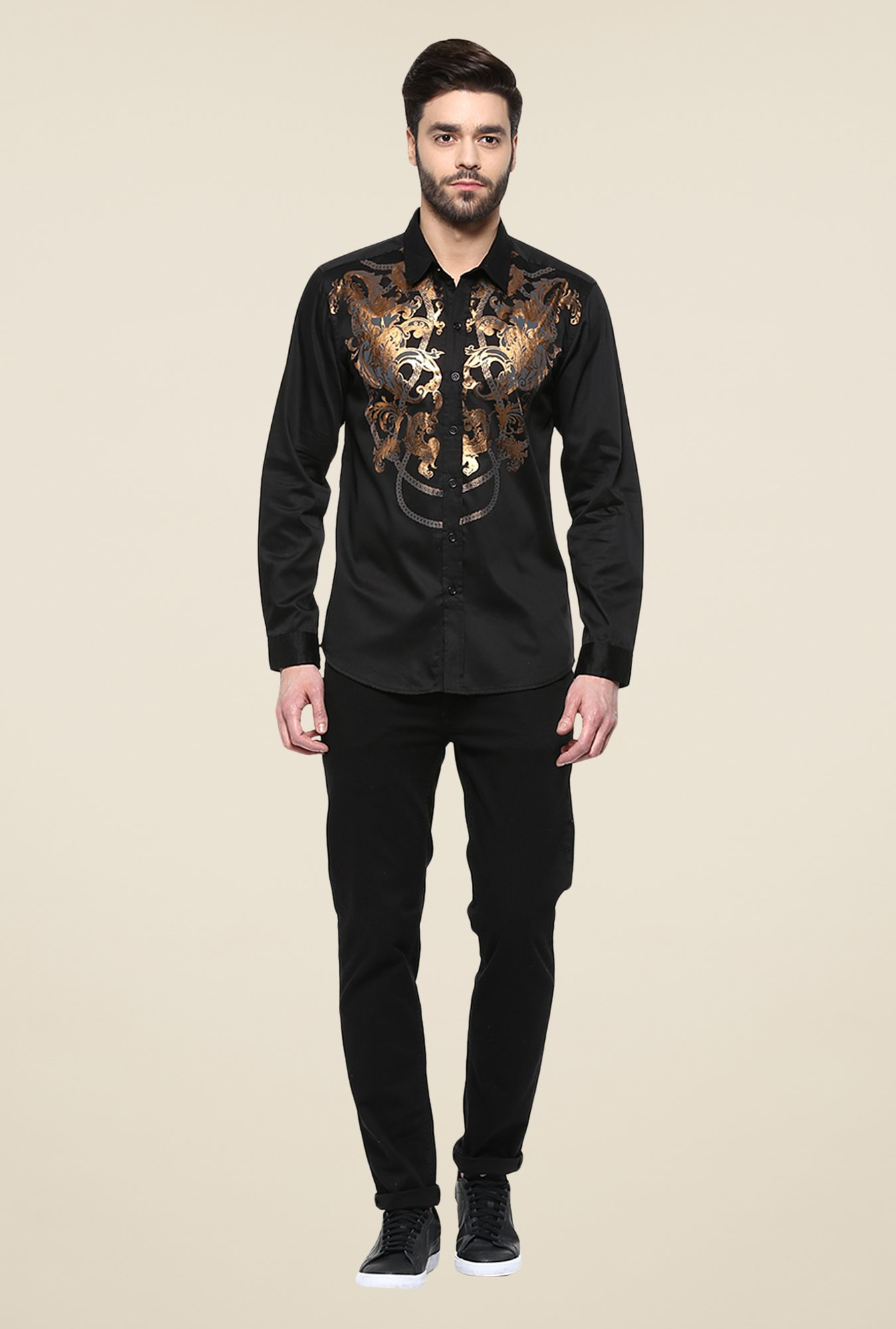 Yepme Black Abdon Foil Print Party Shirt