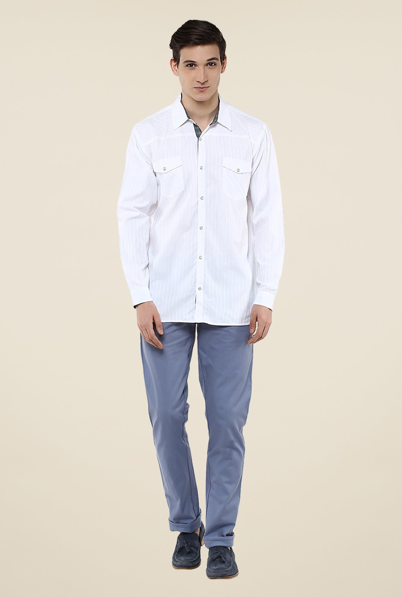 Yepme White Convey Solid Shirt