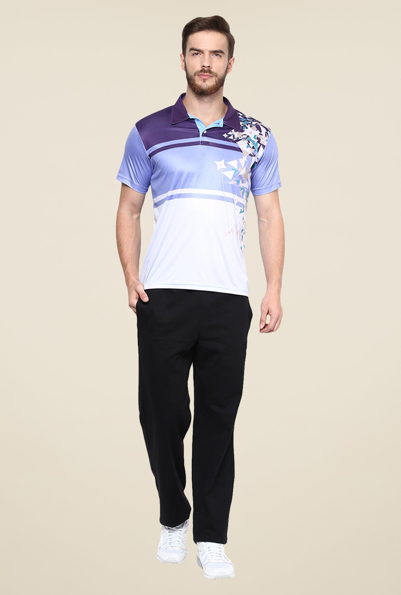 Yepme Blue & White Issac Block Printed Polo T-shirt