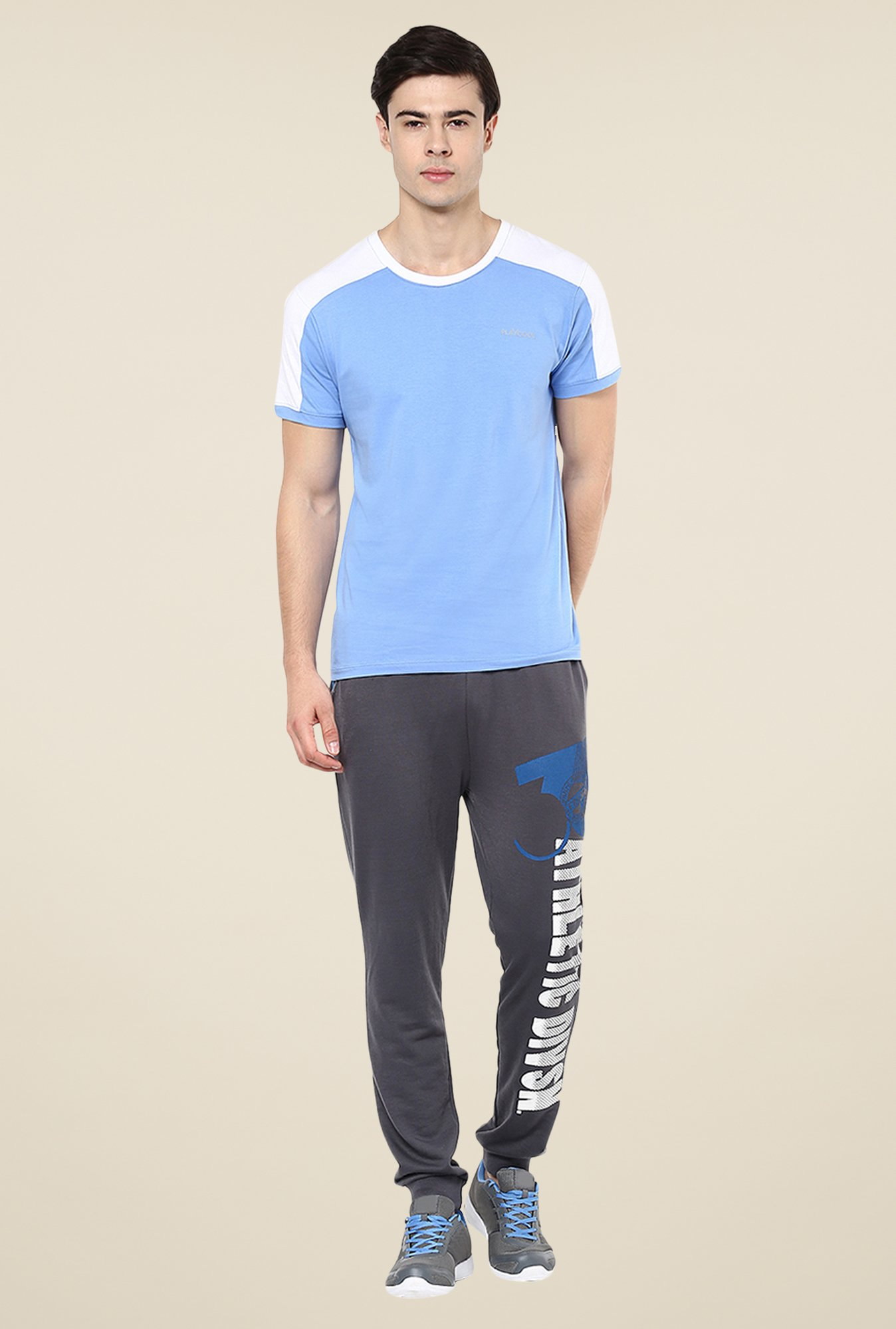Yepme Blue Tim High Performance Active Solid T-shirt