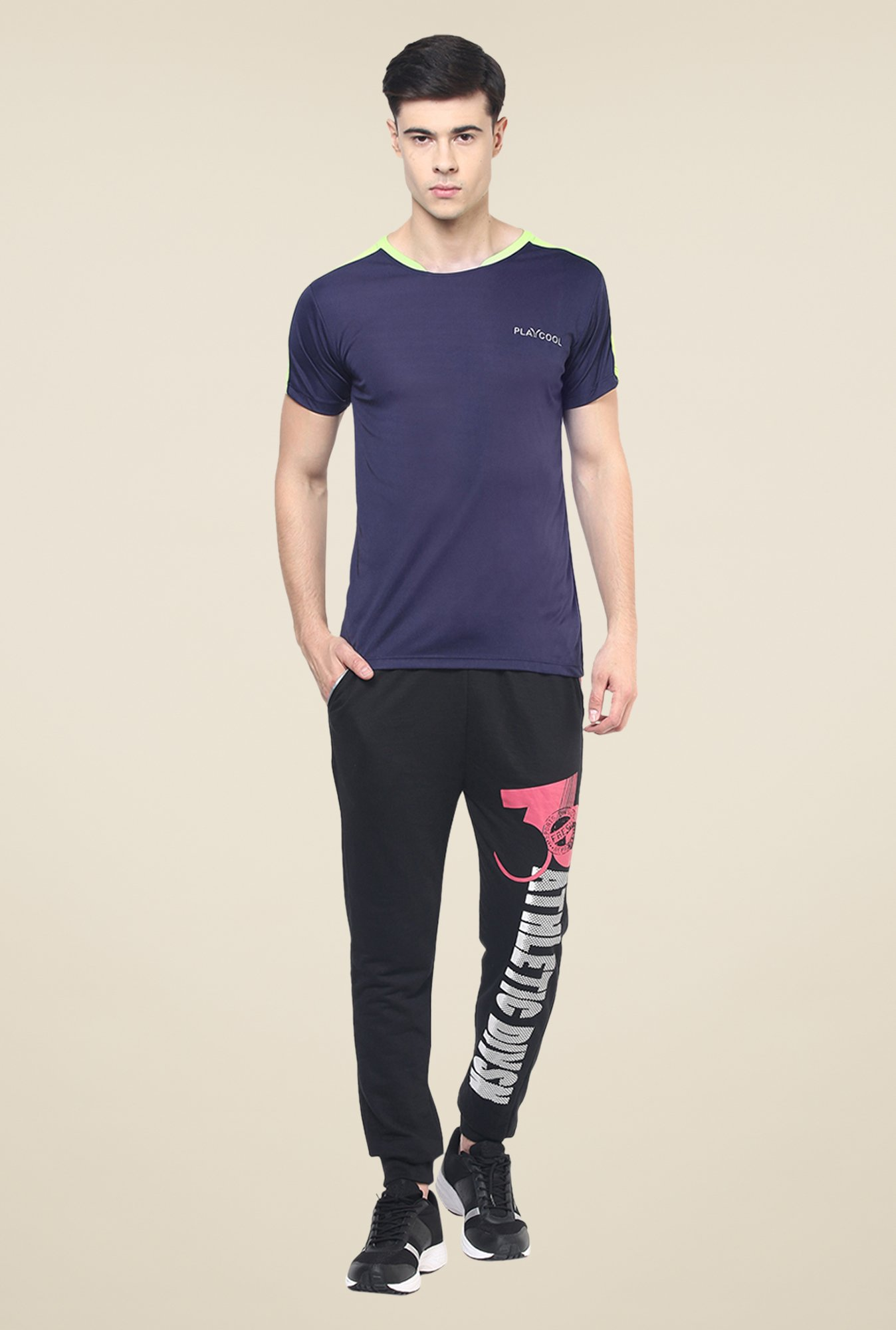 Yepme Navy Merlin High Performance Solid T-shirt