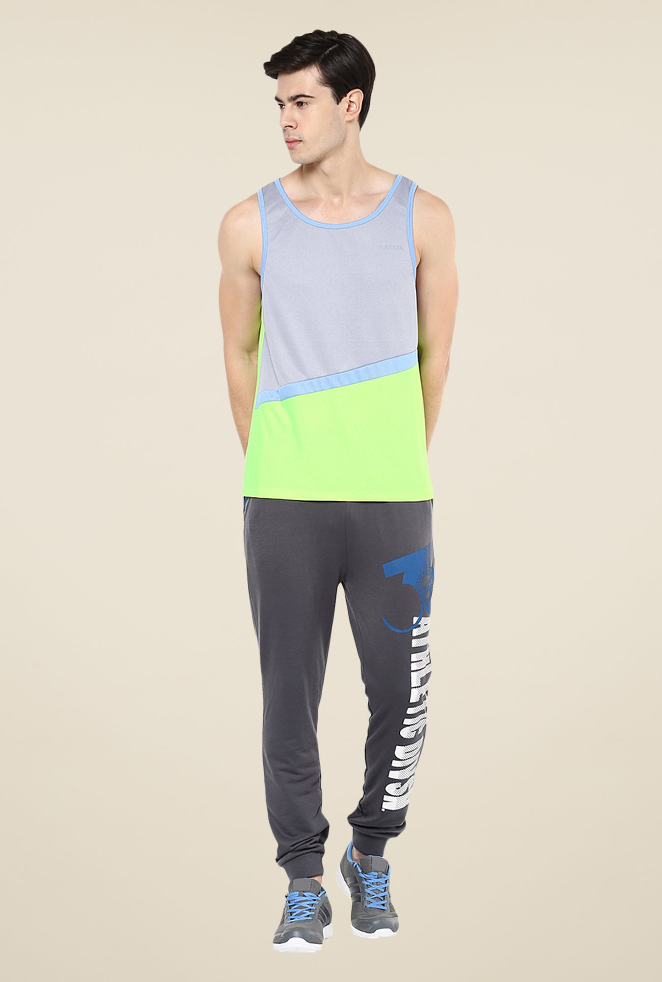 Yepme Grey & Green Baron Muscle Vest
