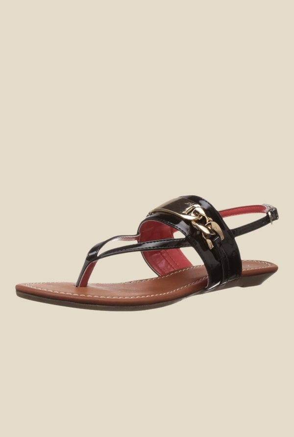 Catwalk Black & Golden Back Strap Sandals
