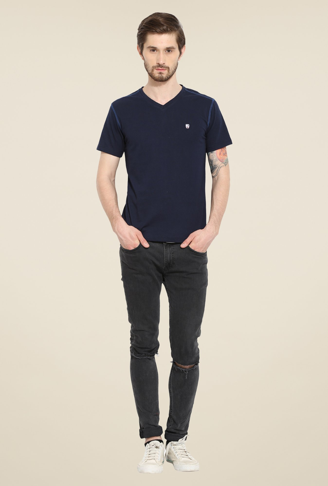 Duke Stardust Navy Solid T Shirt