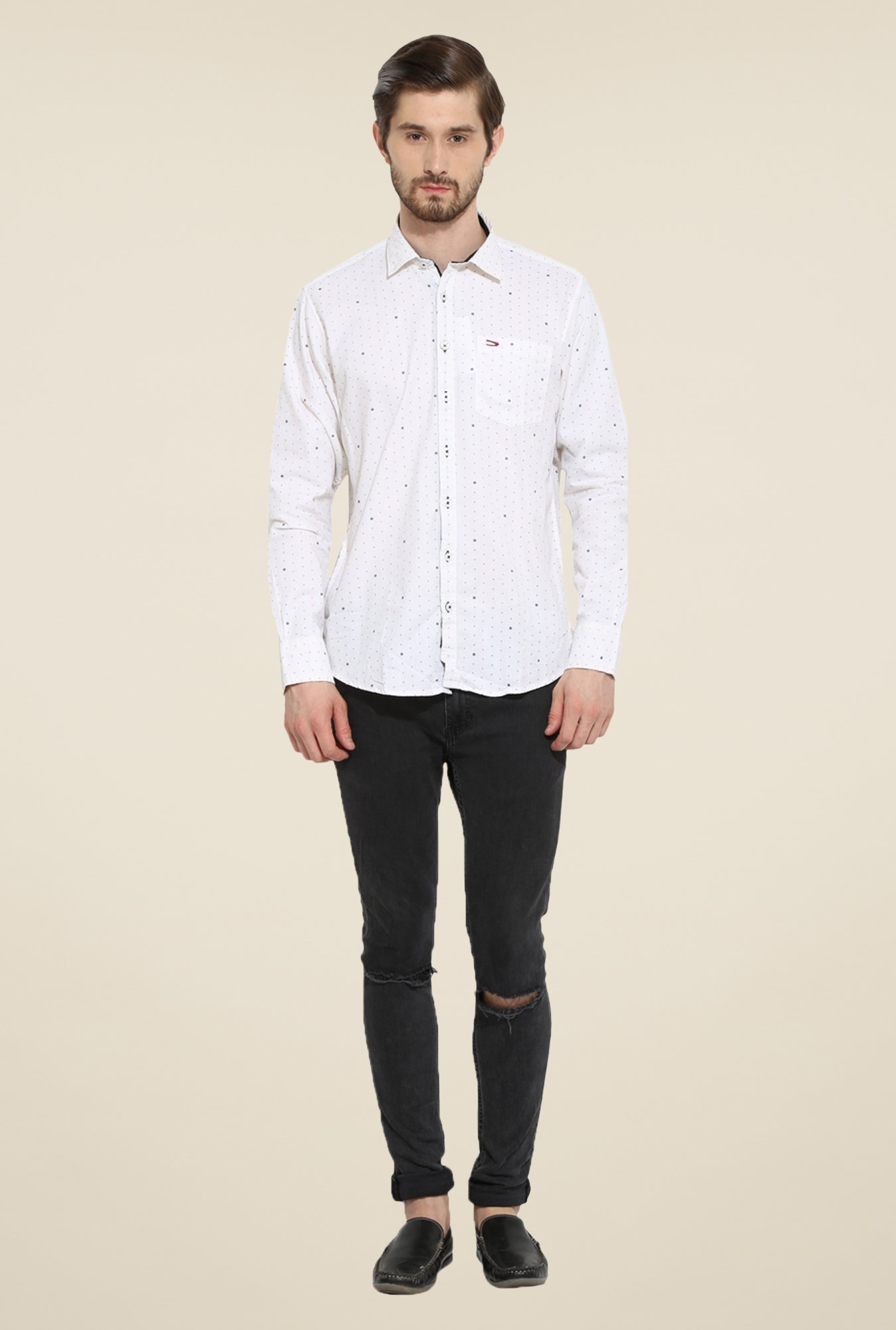 Duke Stardust White Printed Shirt
