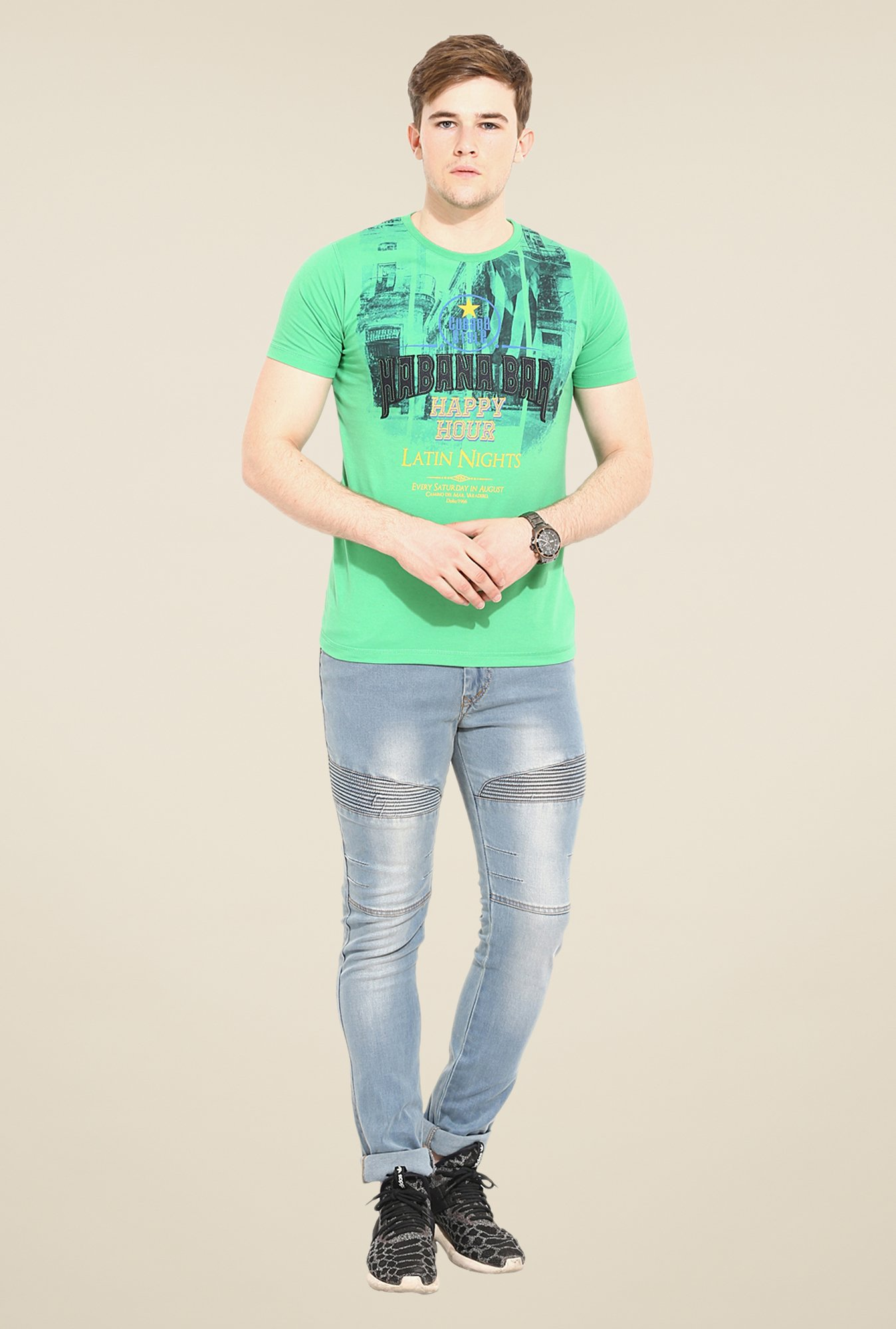 Duke Stardust Green Printed T-shirt