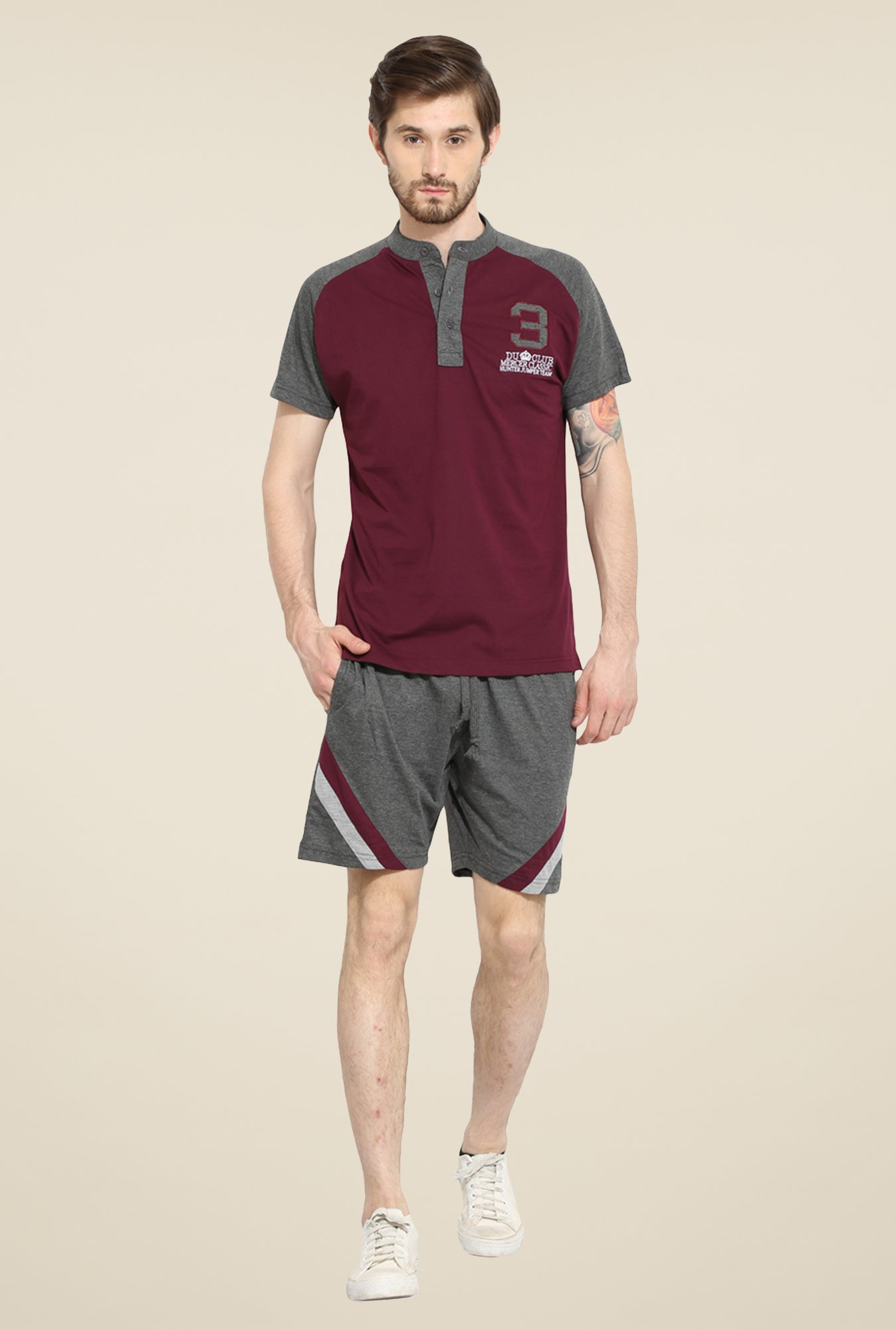Duke Stardust Maroon & Grey Solid Bermuda Set