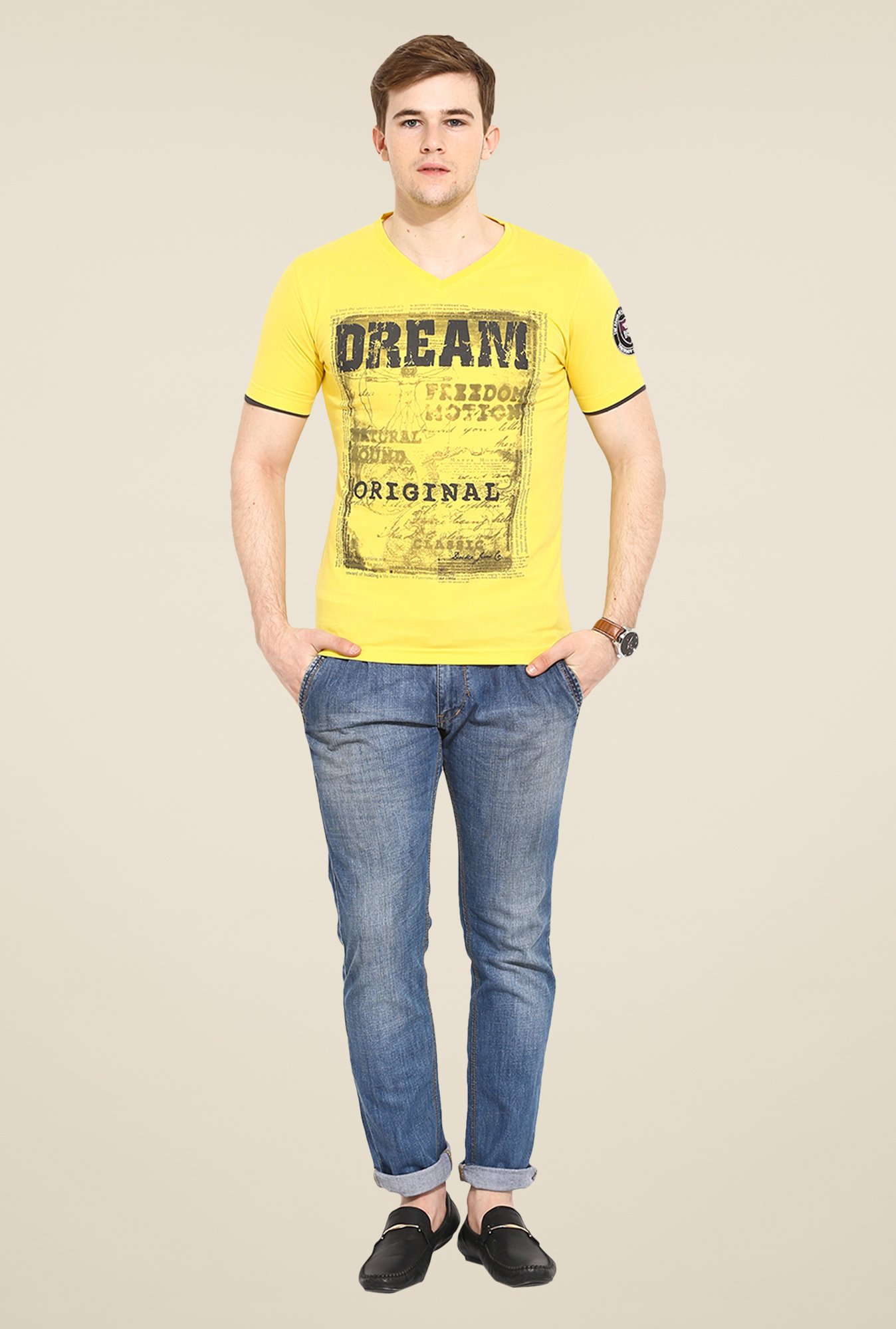 Duke Stardust Yellow Graphic Print T Shirt