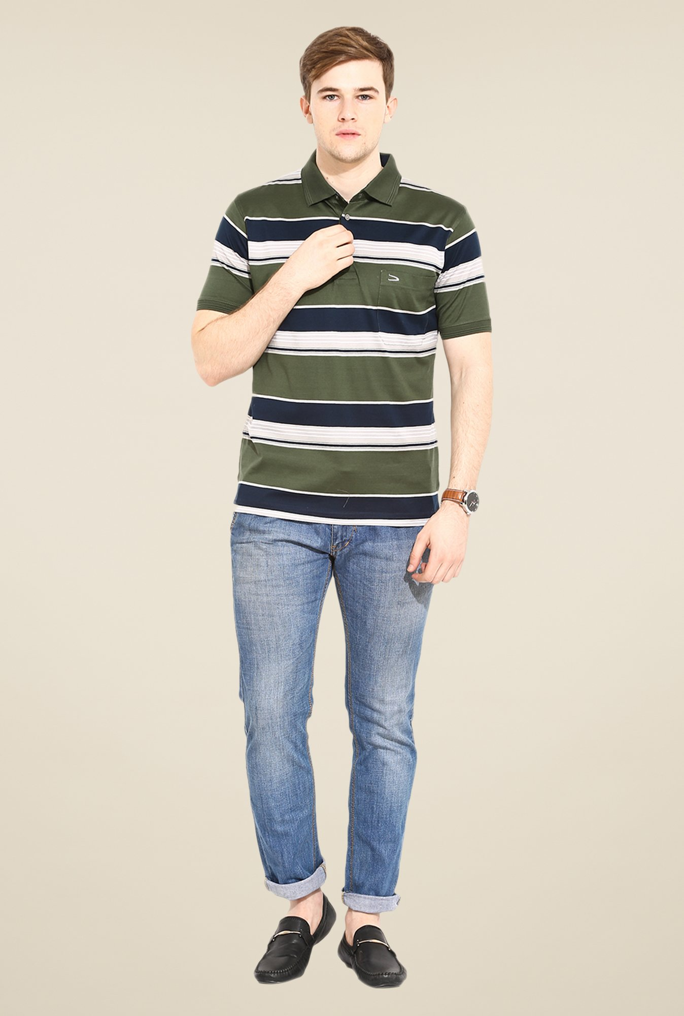 Duke Stardust Olive Striped T Shirt