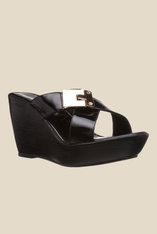 Catwalk Black Cross Strap Wedges