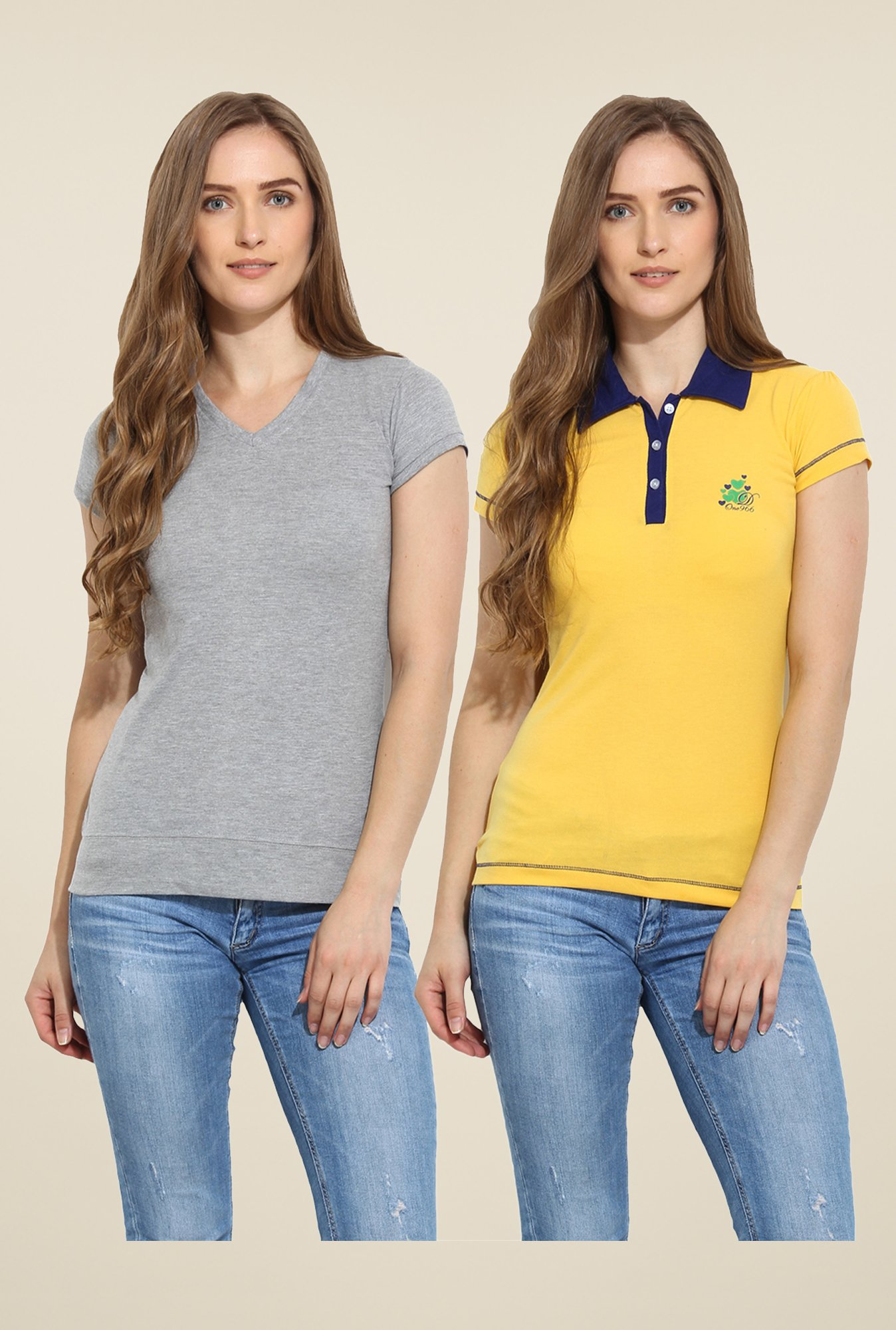 Duke Stardust Grey & Yellow Solid T Shirt (Pack of 2)