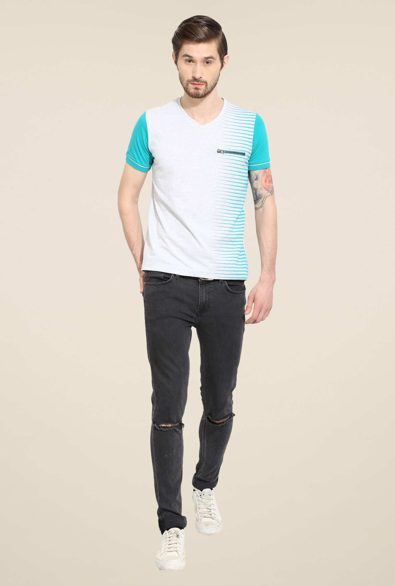 Duke Stardust Off White Solid T-shirt