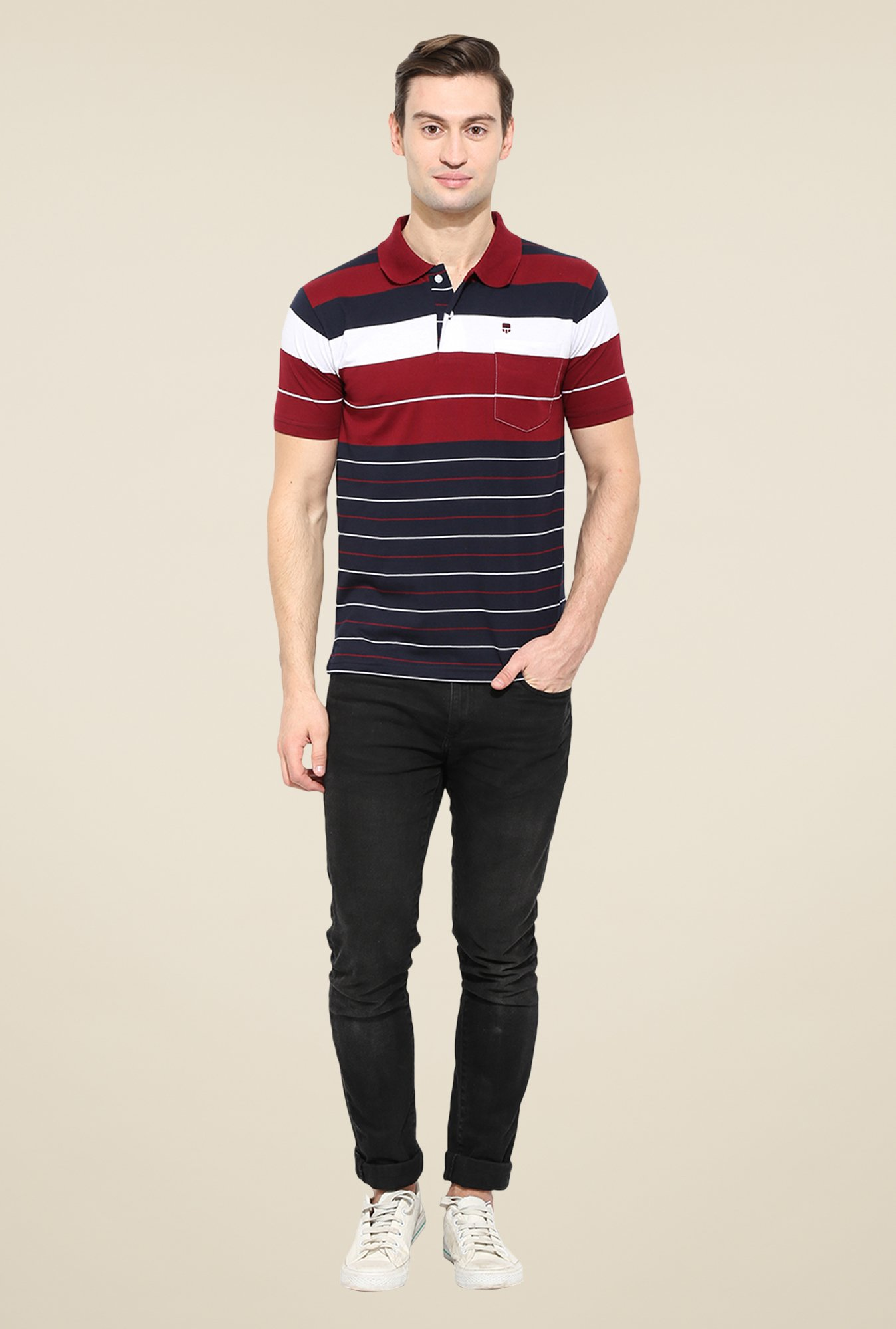 Duke Stardust Navy & Maroon Striped T-shirt