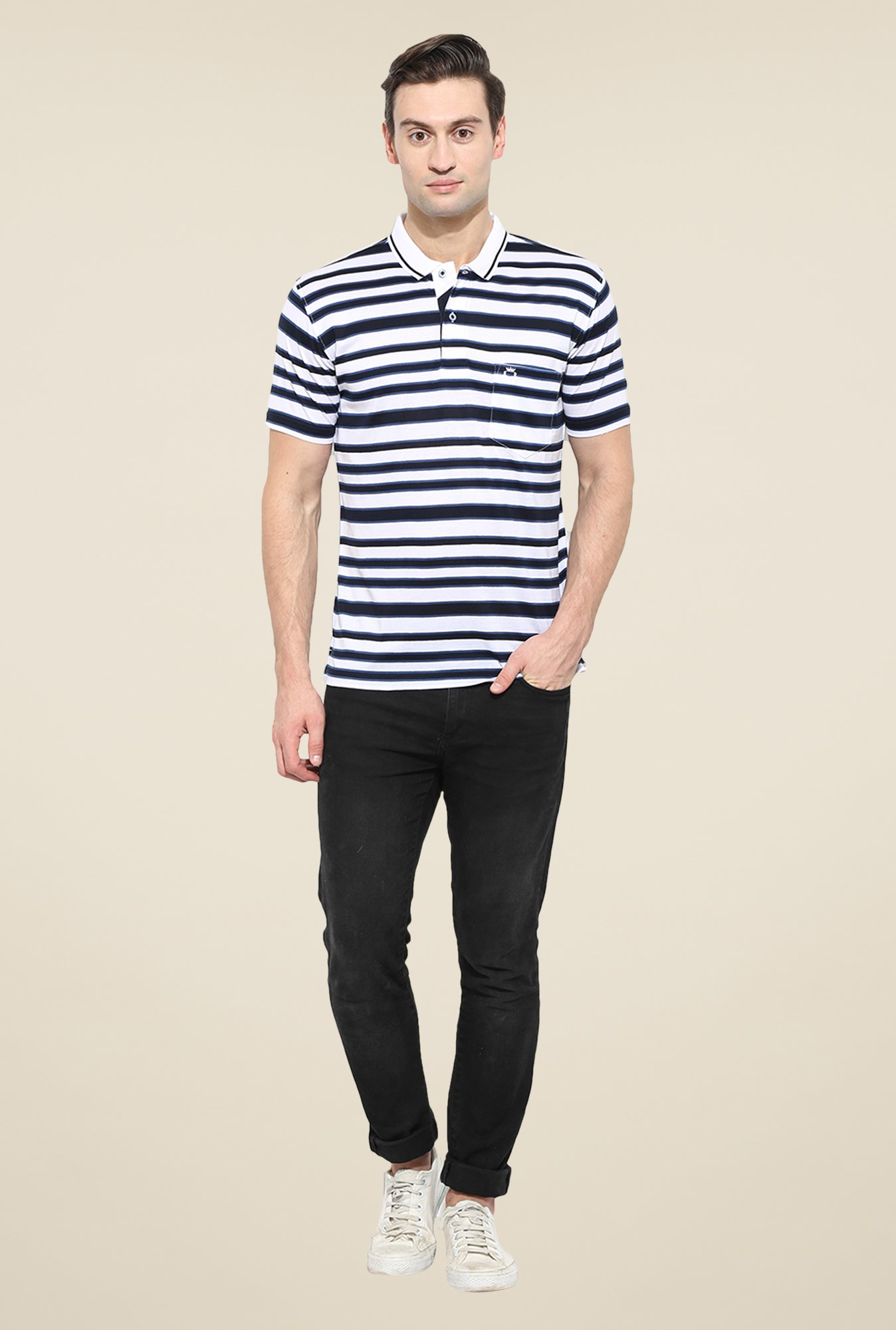 Duke Stardust White & Navy Striped T-shirt