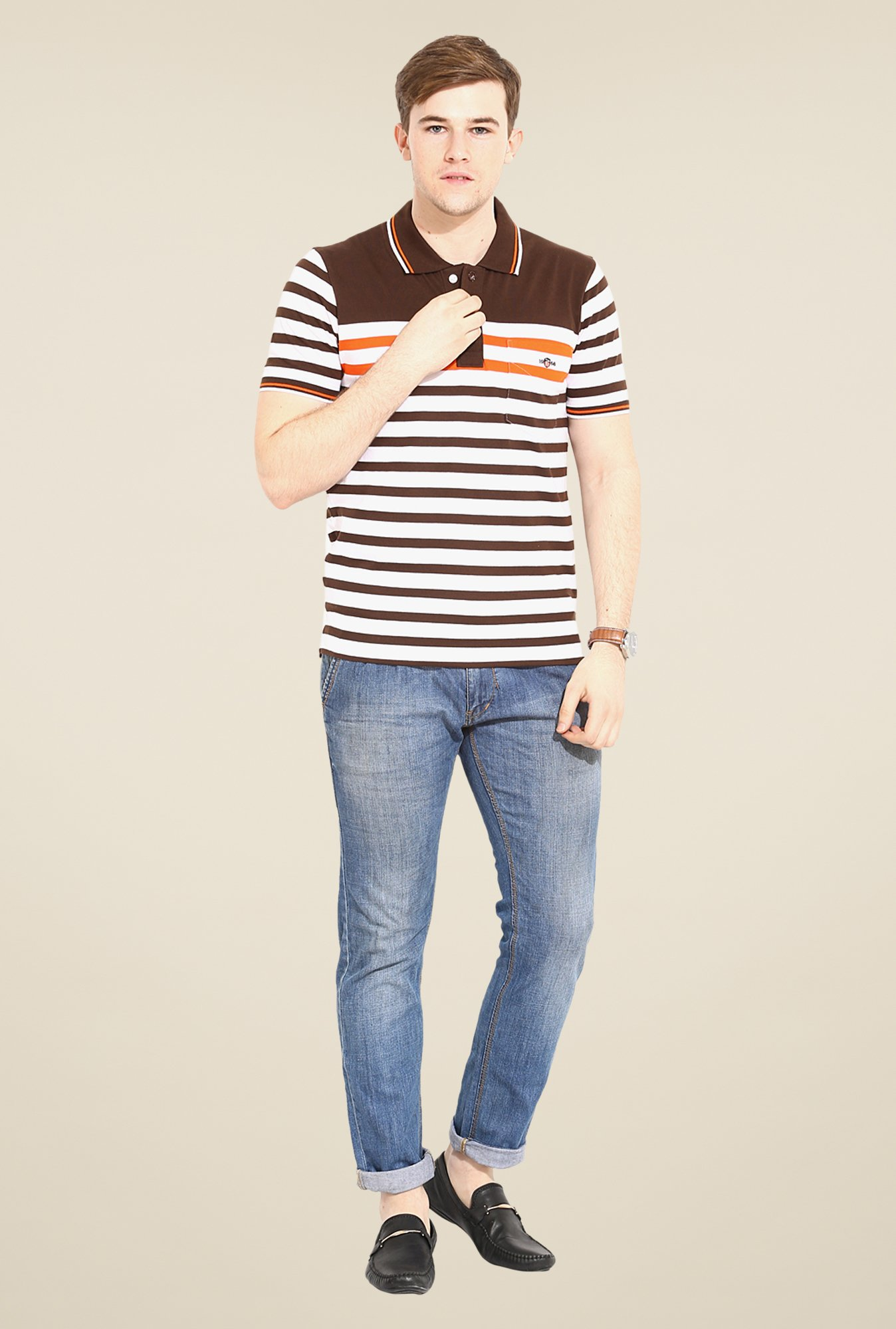 Duke Stardust White & Brown Striped T-shirt