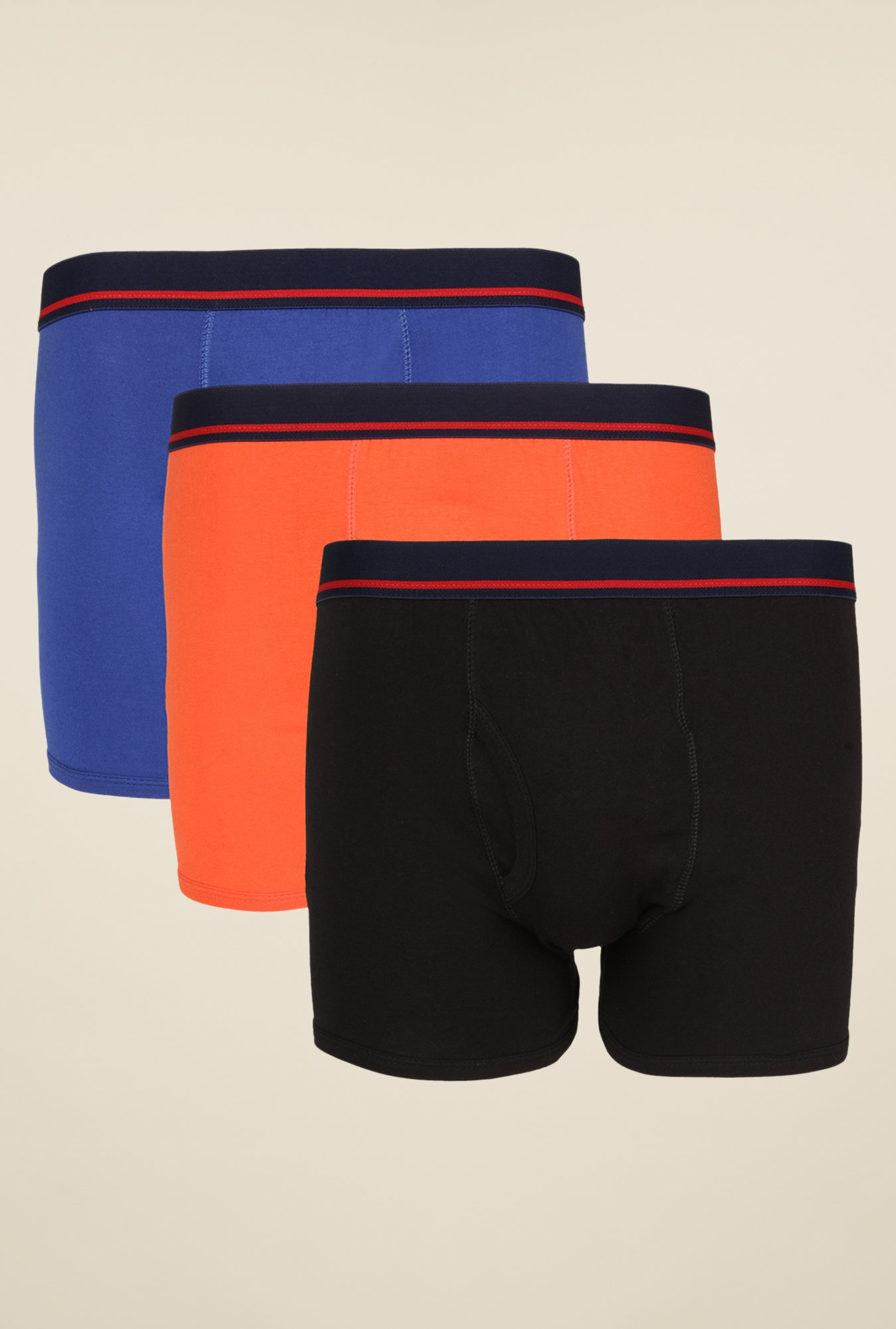 Yepme Blue, Orange & Black Rex Trunks (Pack Of 3)