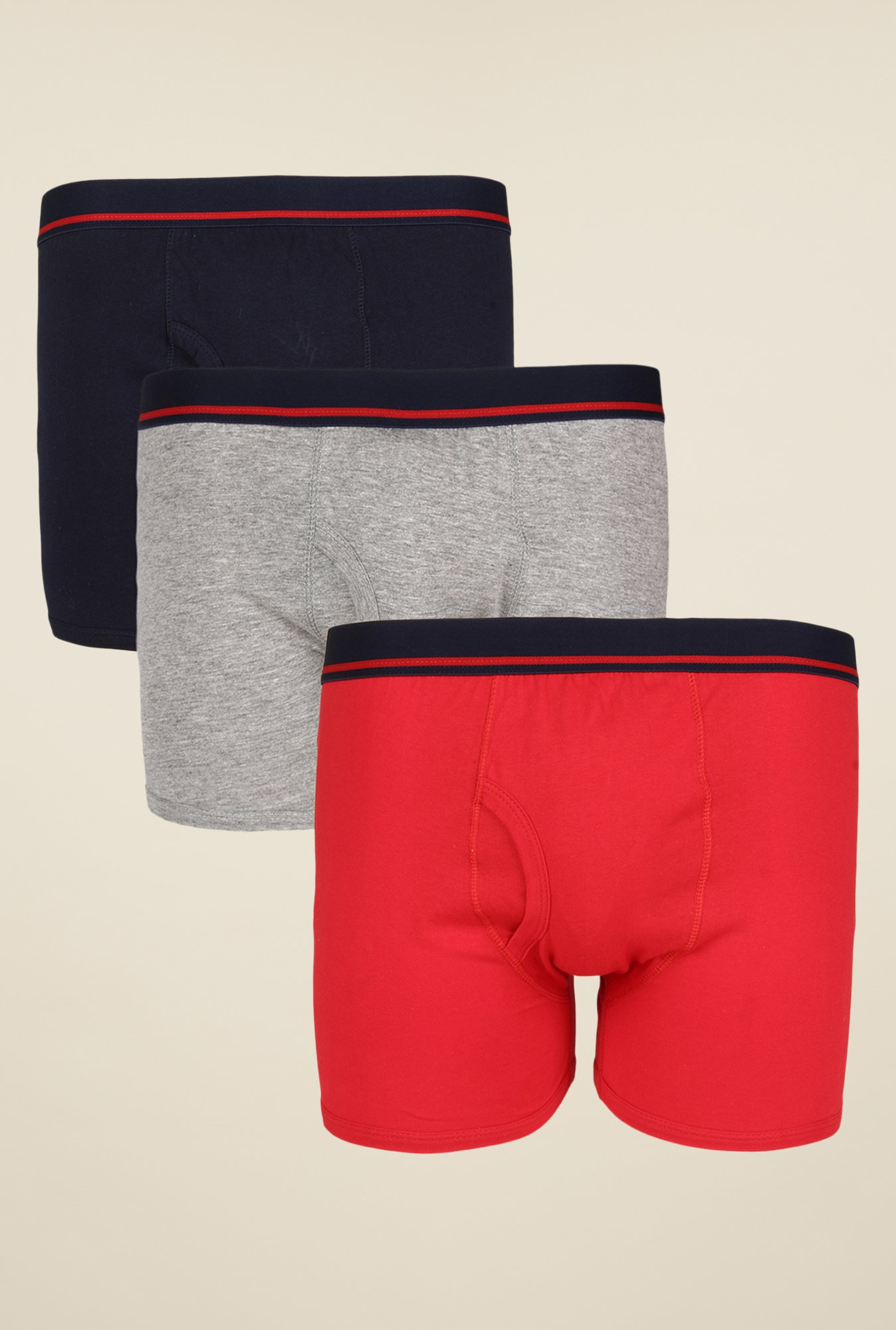 Yepme Navy, Grey & Red Rex Trunks (Pack Of 3)