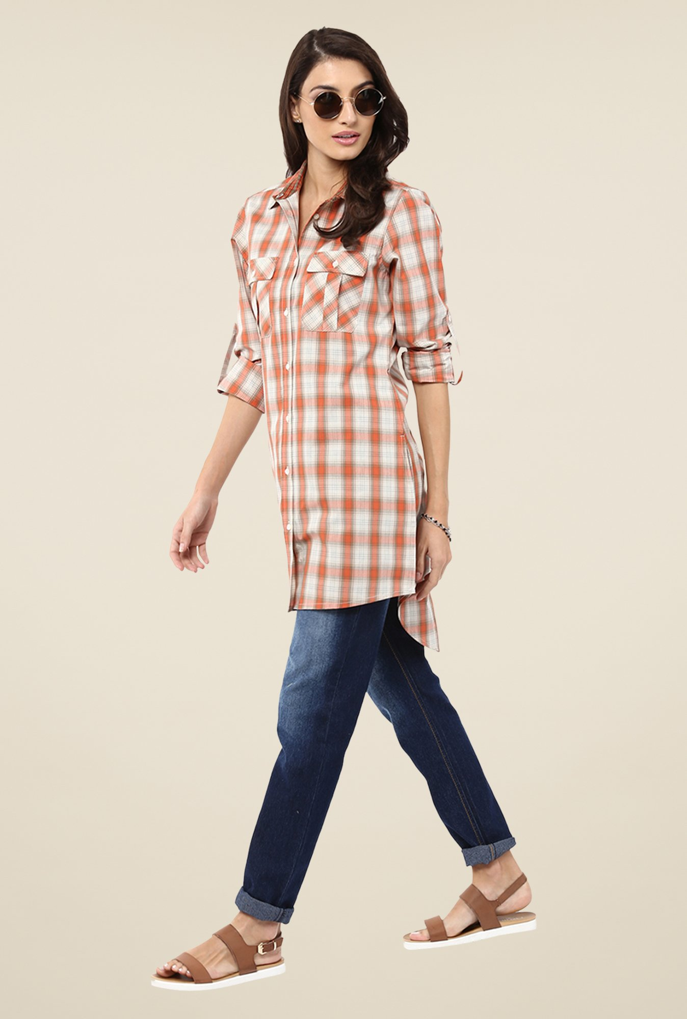 Yepme Beige Lorina Checks Shirt