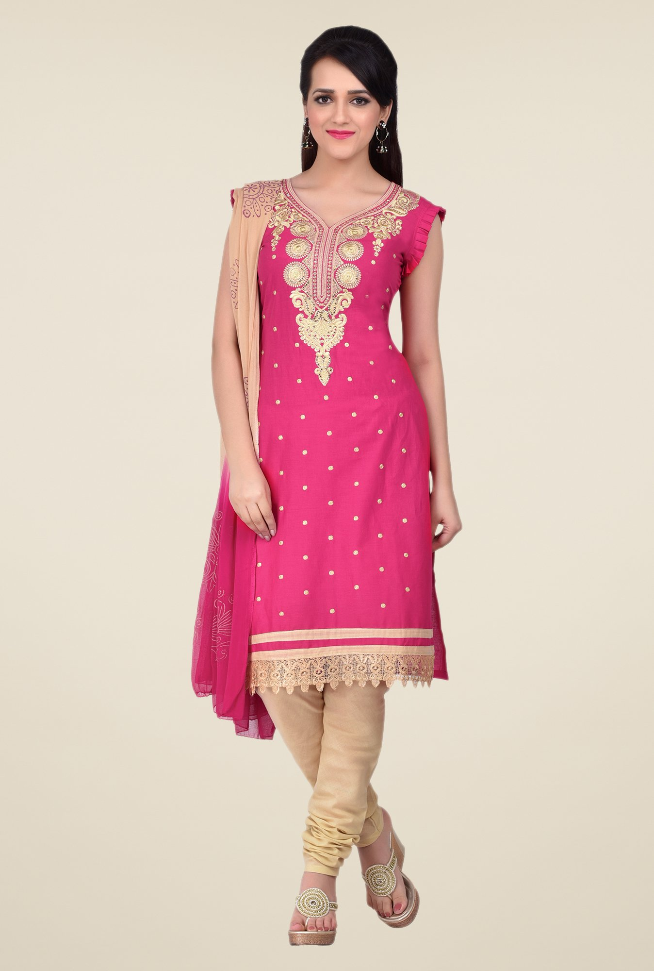Shonaya Pink & Beige Embroidered Dress Material