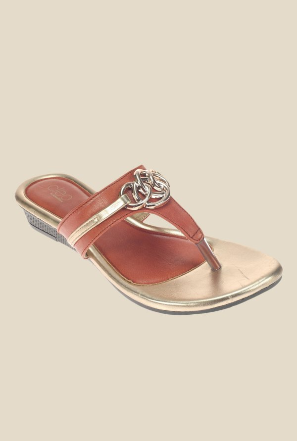 Khadim's Cleo Red Wedge Heeled Thong Sandals