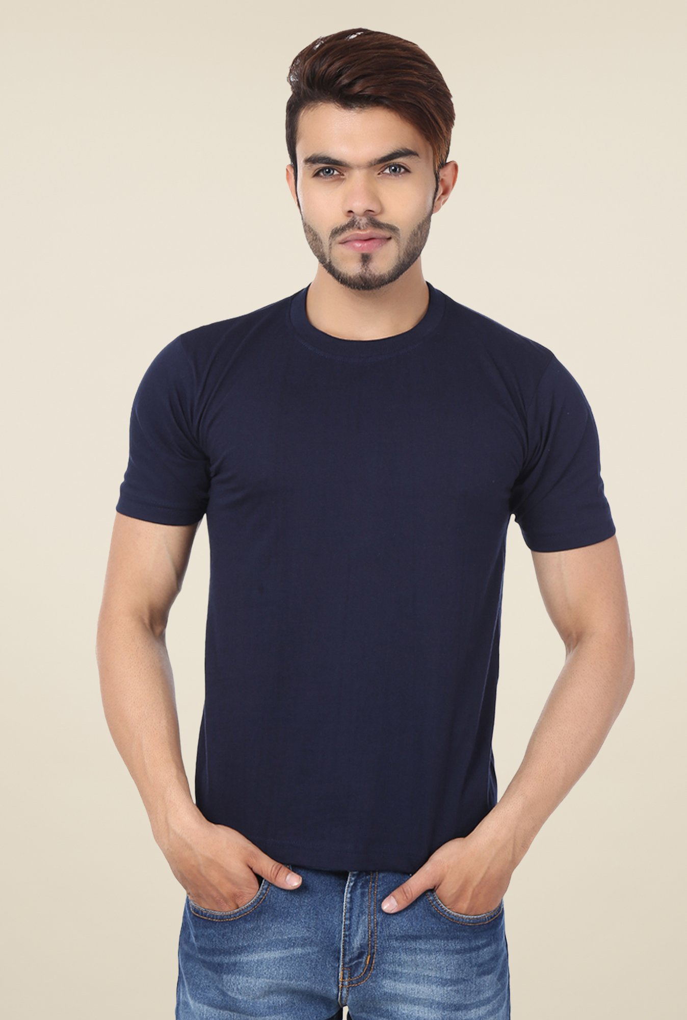 Weardo Navy Crew Neck T Shirt