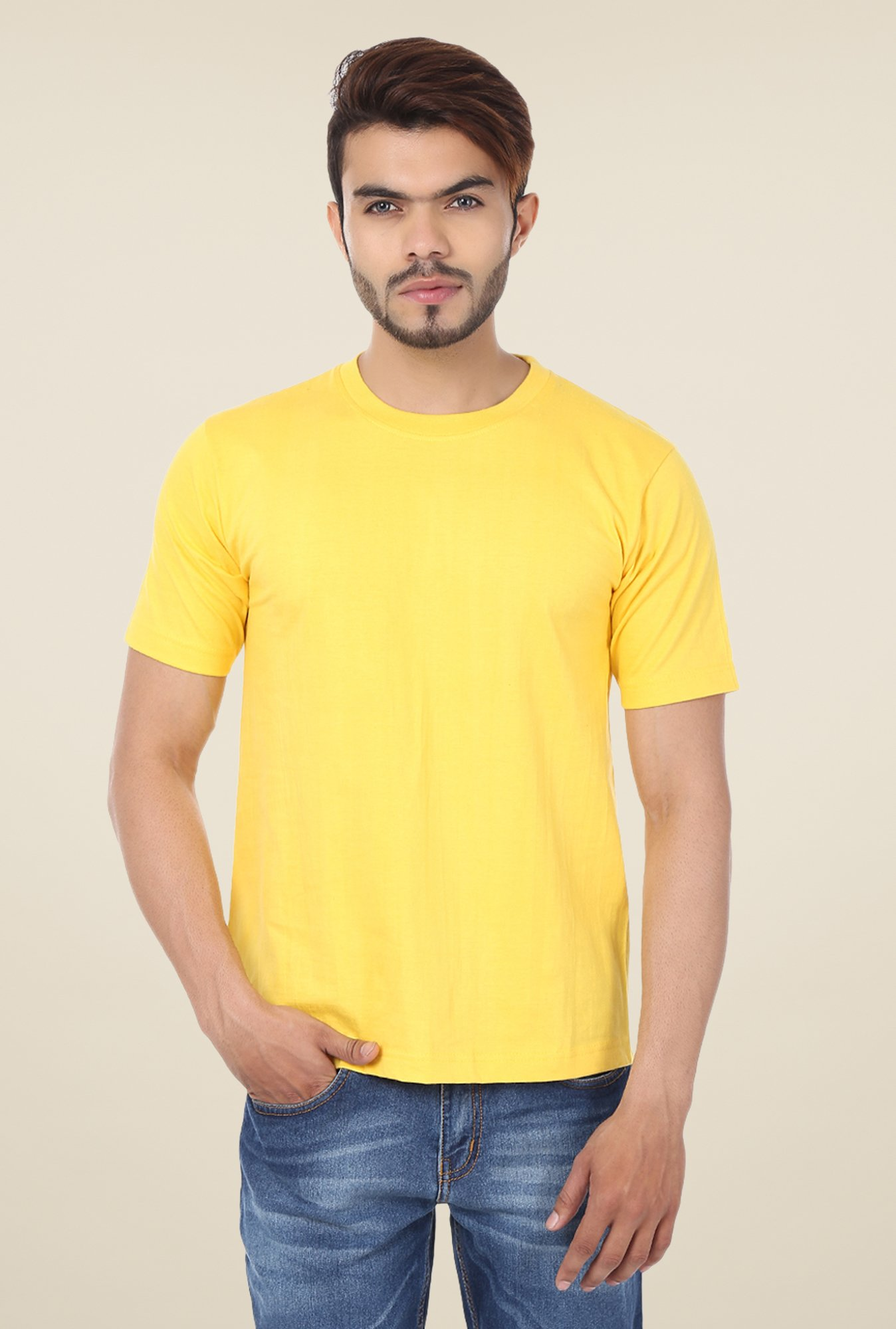 Weardo Yellow Crew Neck T-Shirt