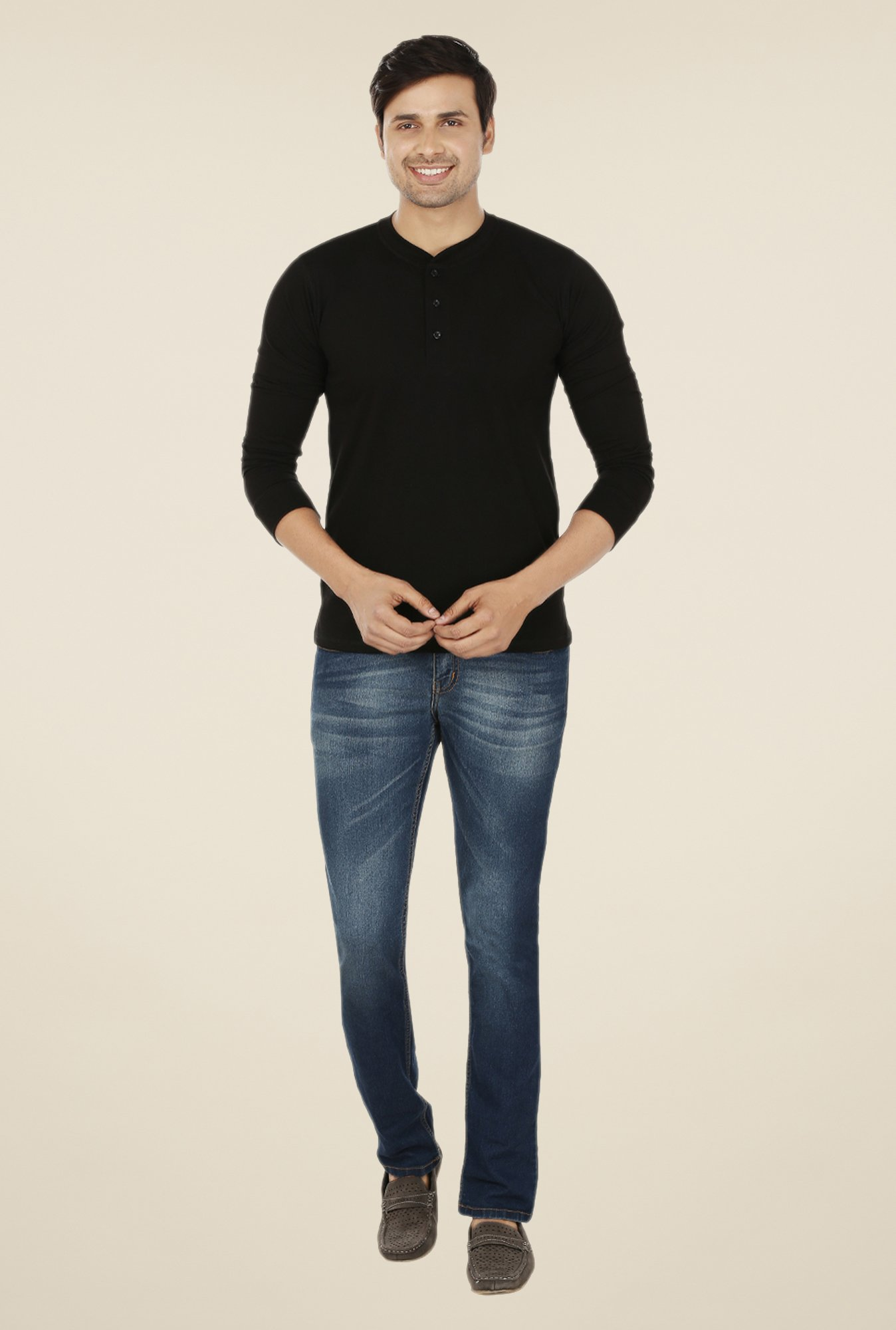 Weardo Black Henley T Shirt