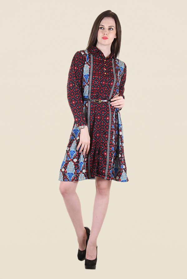 Hotberries Red & Black Printed Dress
