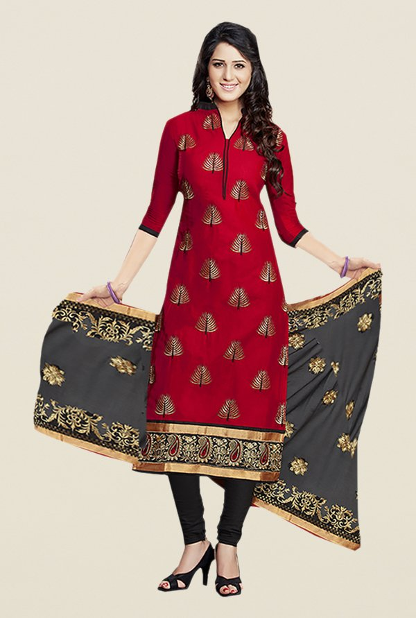 Ishin Black & Red Embroidered Unstitched Dress Material