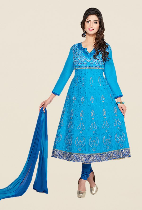 Ishin Blue Embroidered Unstitched Dress Material