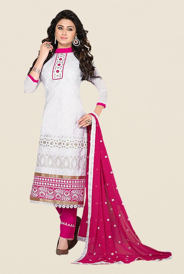 Ishin White & Pink Embroidered Unstitched Dress Material