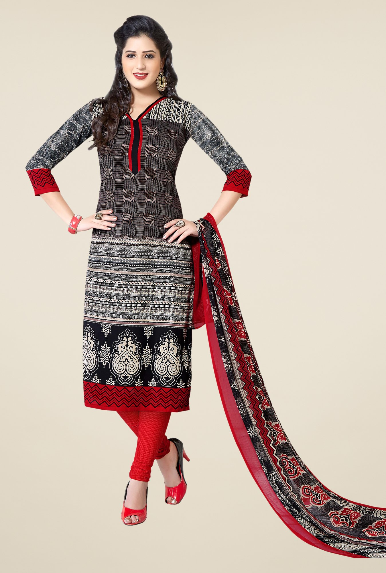 Ishin Black & Red Printed Unstitched Dress Material