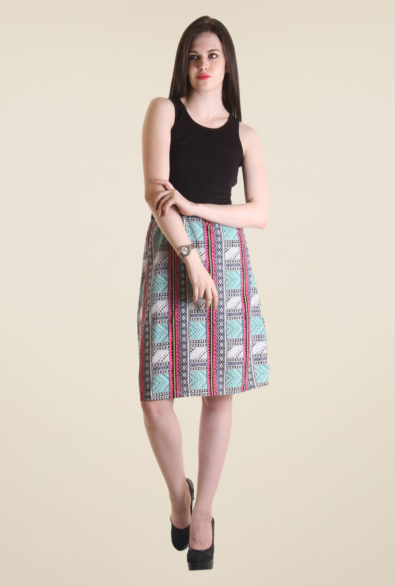 Hotberries Black & Green Printed Dress