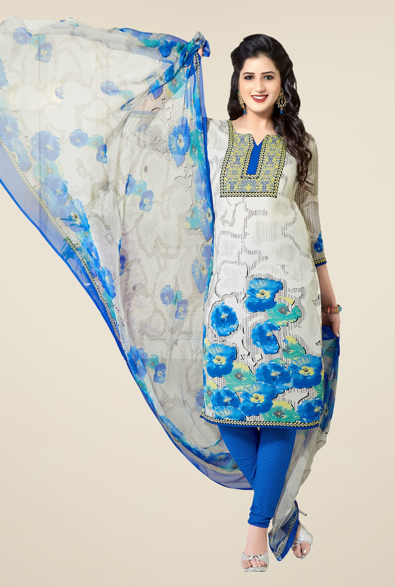 Ishin White & Blue Printed Unstitched Dress Material