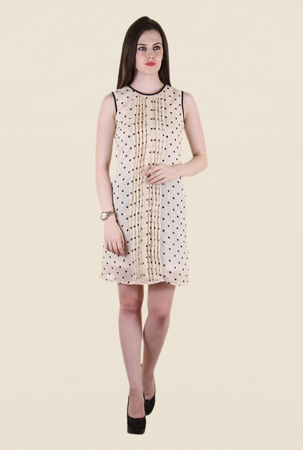 Hotberries Beige Polka Dot Dress